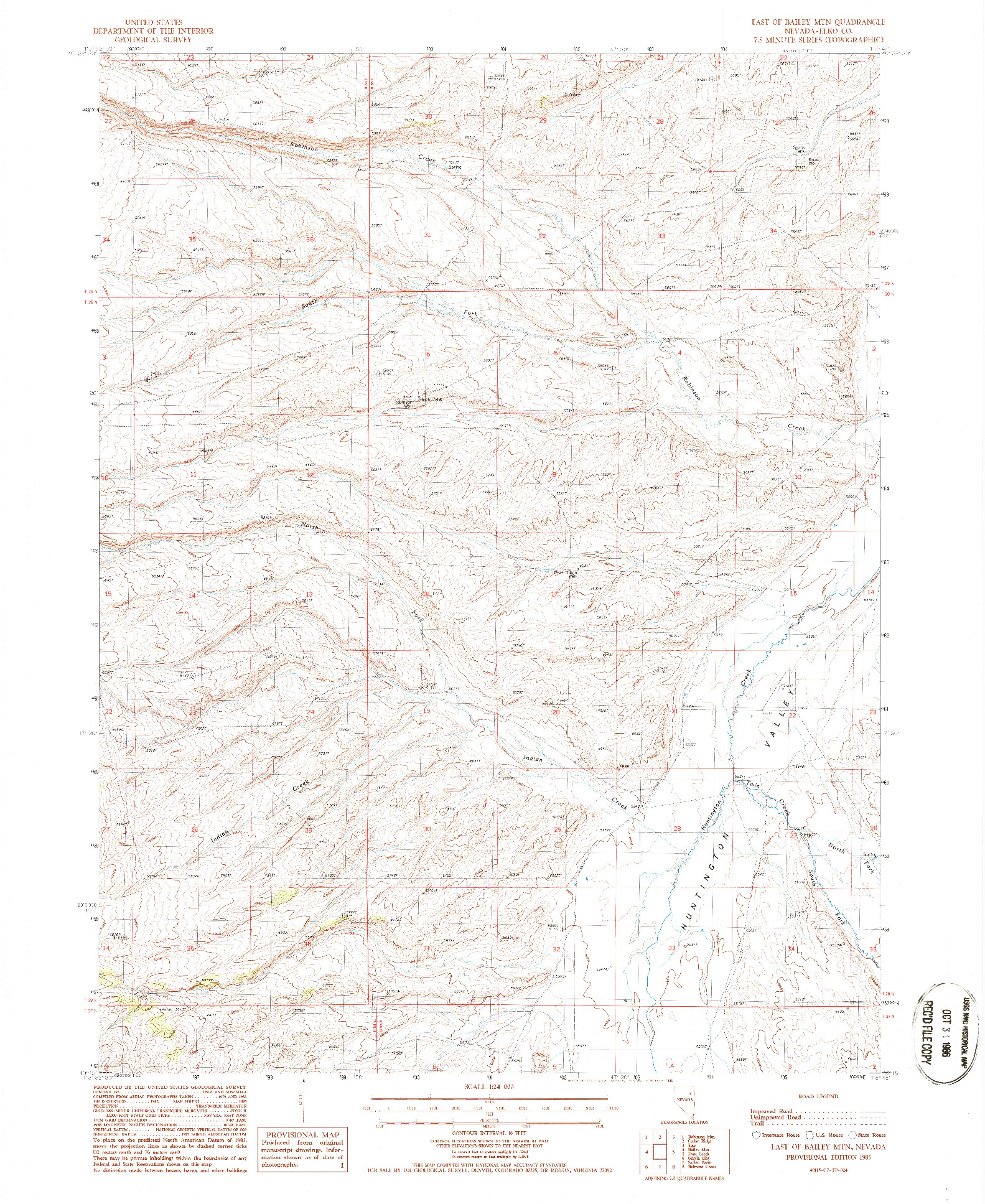 USGS 1:24000-SCALE QUADRANGLE FOR EAST OF BAILEY MTN, NV 1985