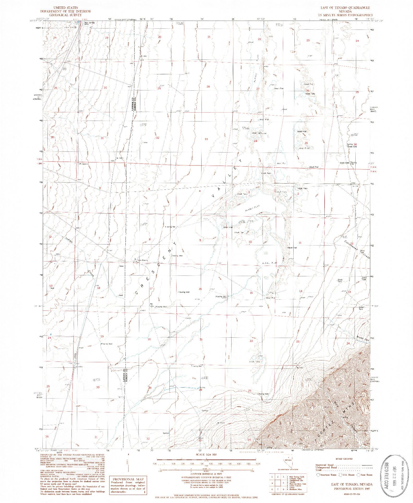 USGS 1:24000-SCALE QUADRANGLE FOR EAST OF TENABO, NV 1985