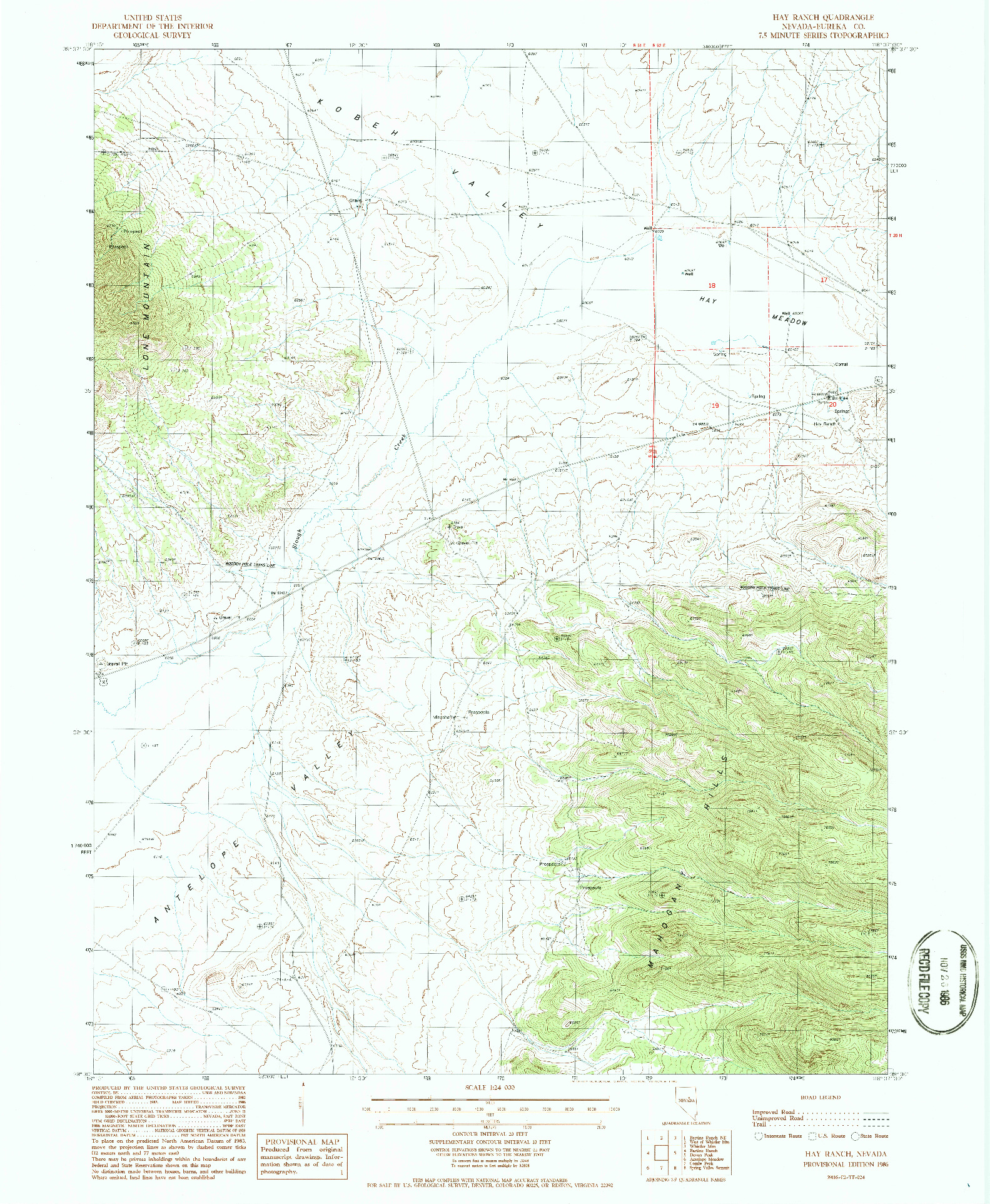 USGS 1:24000-SCALE QUADRANGLE FOR HAY RANCH, NV 1986