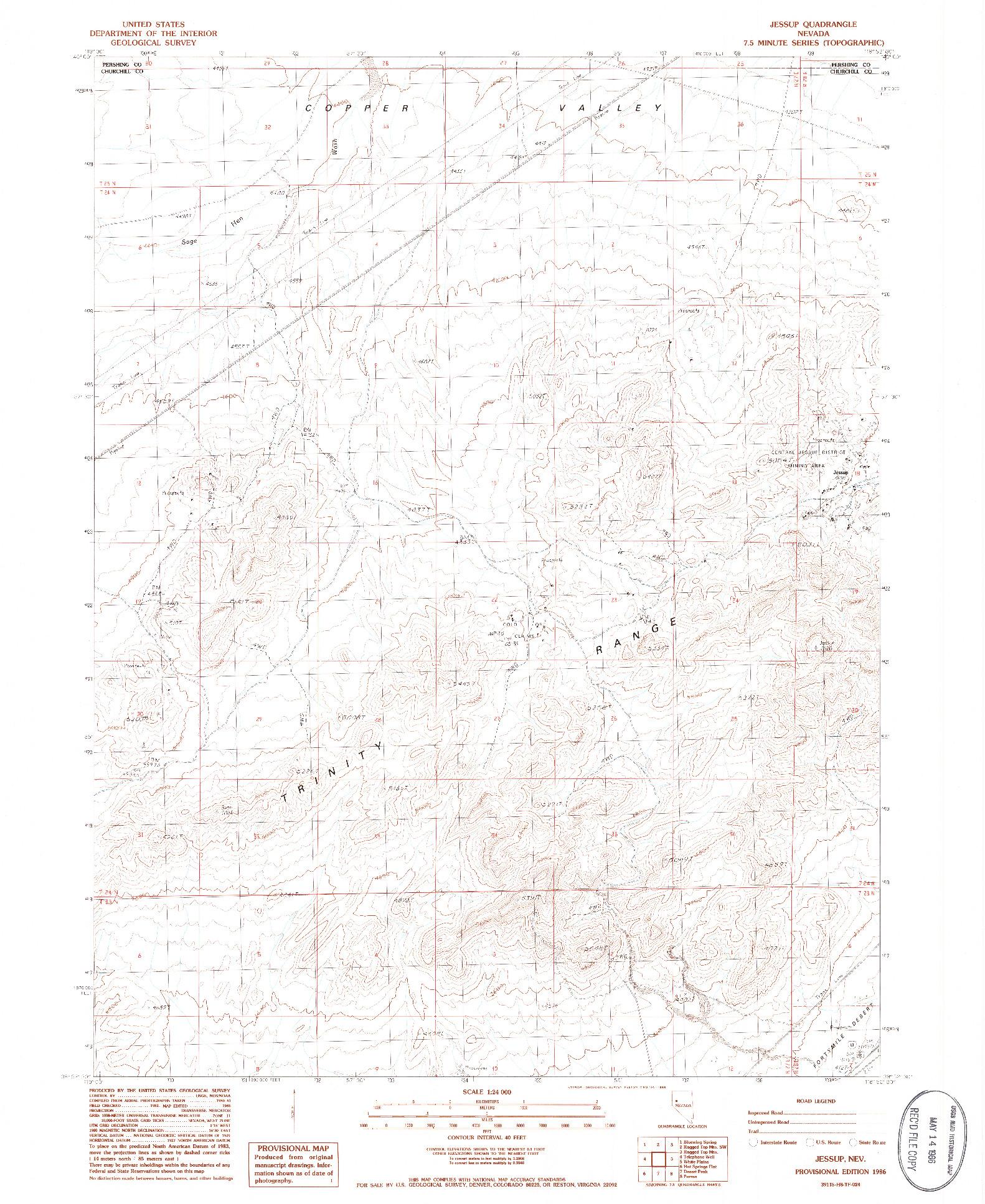USGS 1:24000-SCALE QUADRANGLE FOR JESSUP, NV 1986