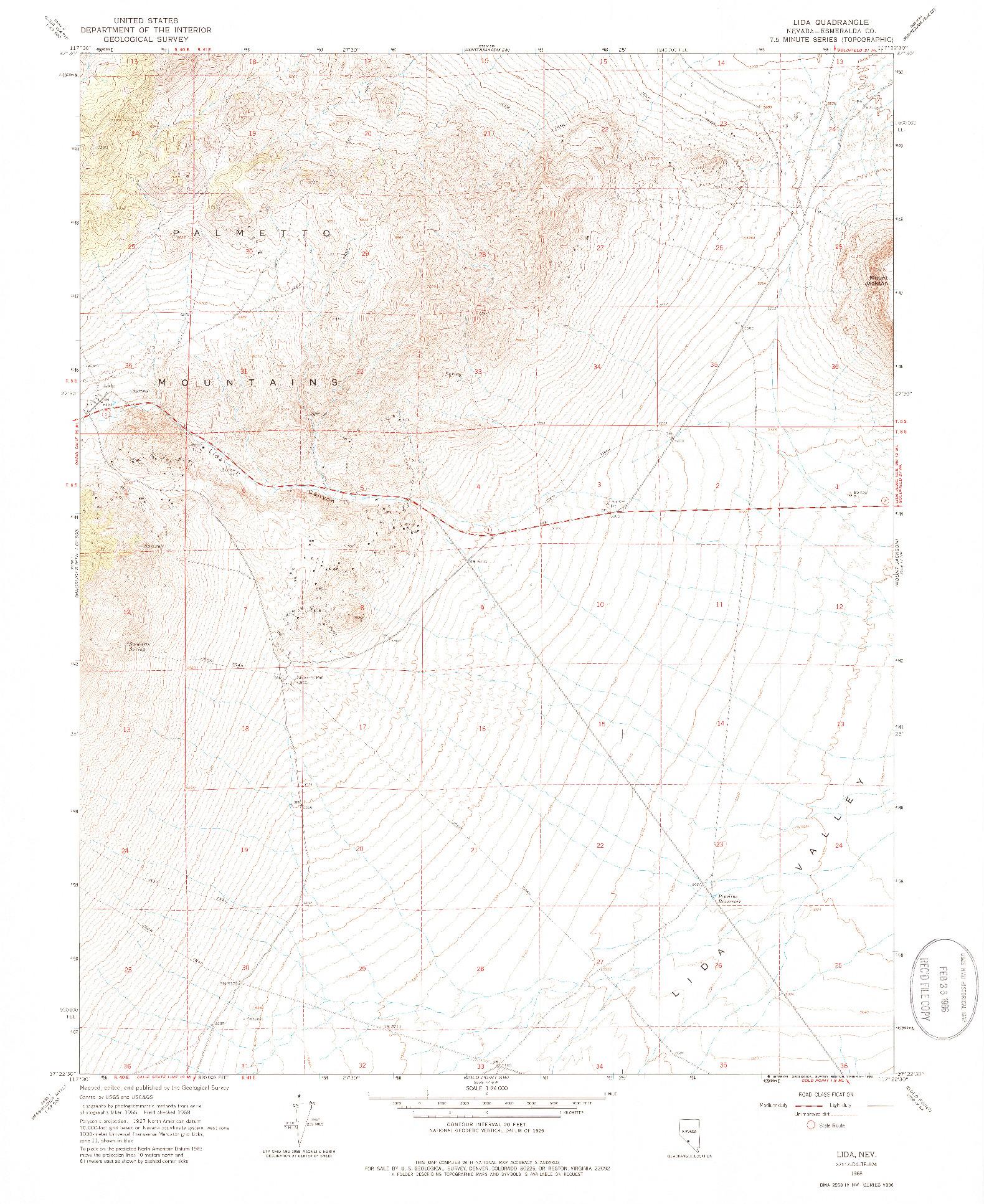 USGS 1:24000-SCALE QUADRANGLE FOR LIDA, NV 1968