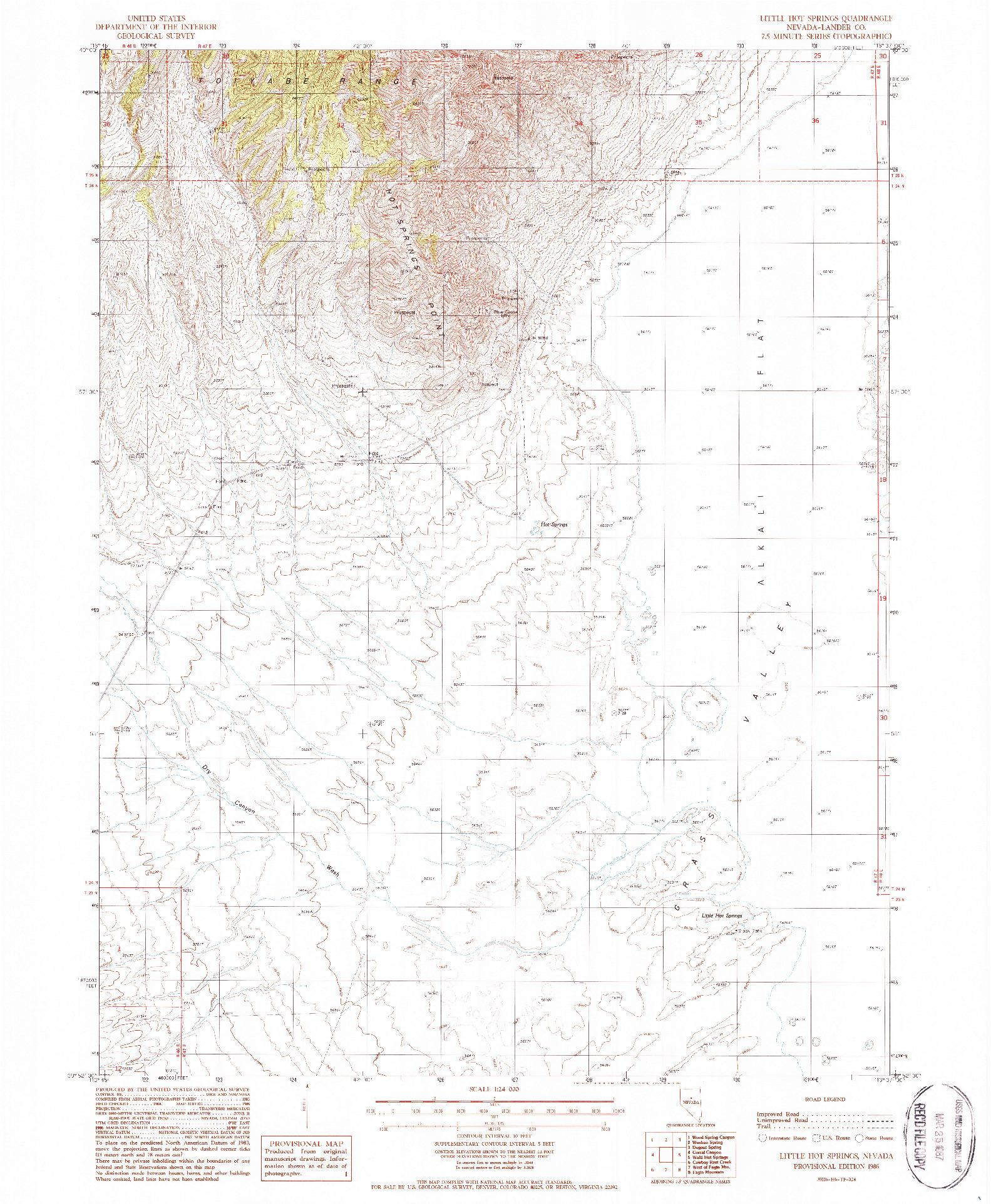 USGS 1:24000-SCALE QUADRANGLE FOR LITTLE HOT SPRINGS, NV 1986