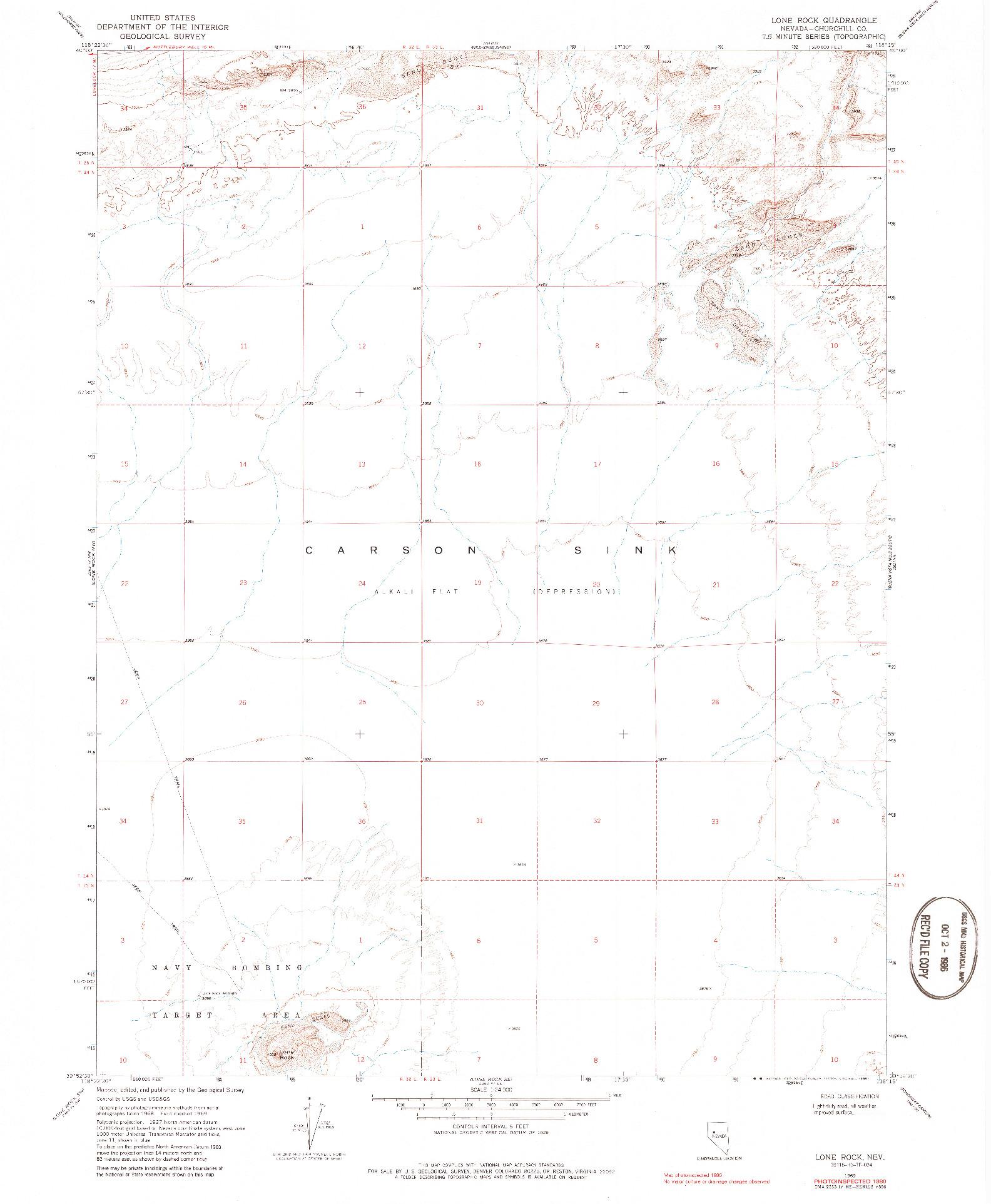 USGS 1:24000-SCALE QUADRANGLE FOR LONE ROCK, NV 1969