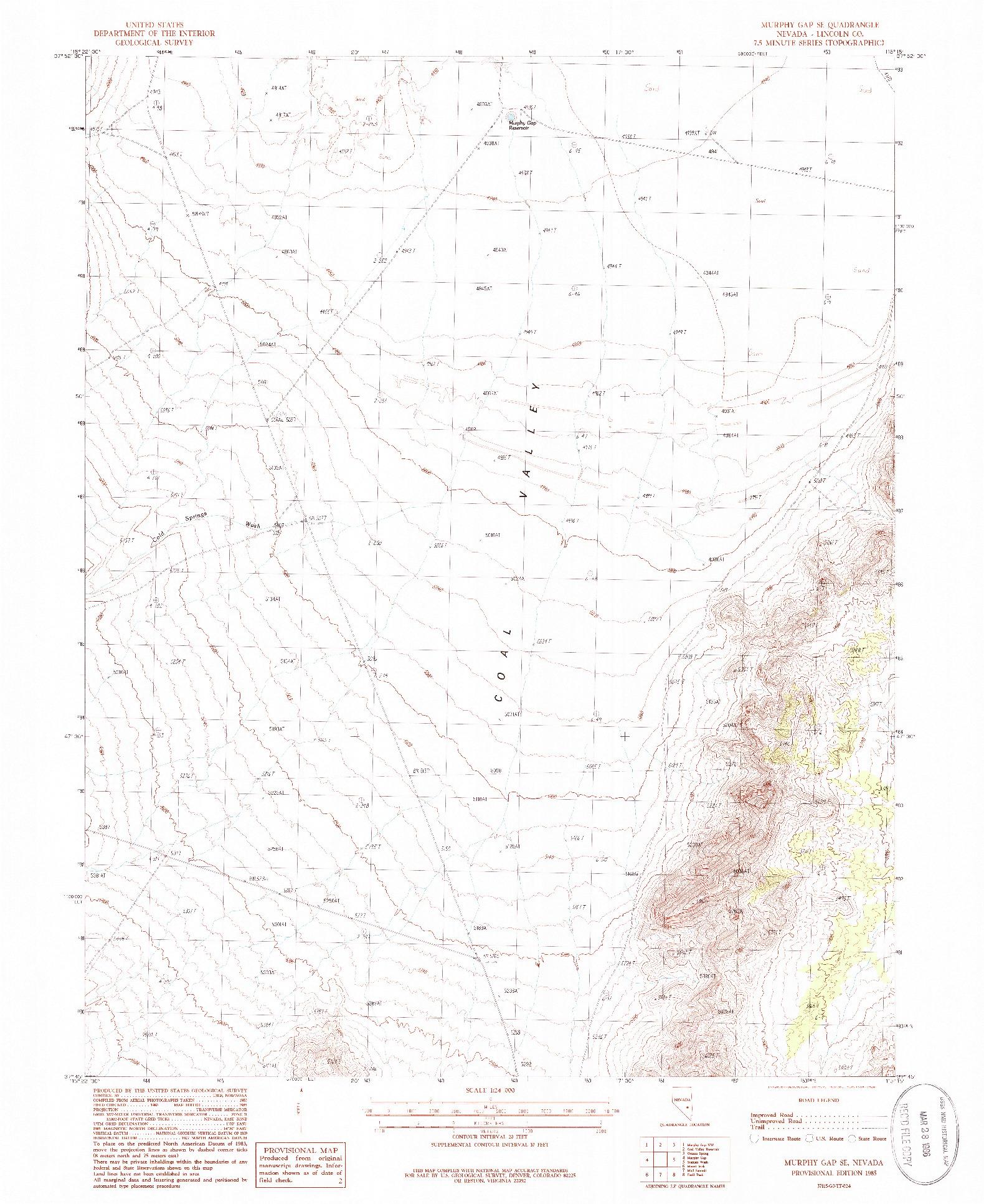 USGS 1:24000-SCALE QUADRANGLE FOR MURPHY GAP SE, NV 1985