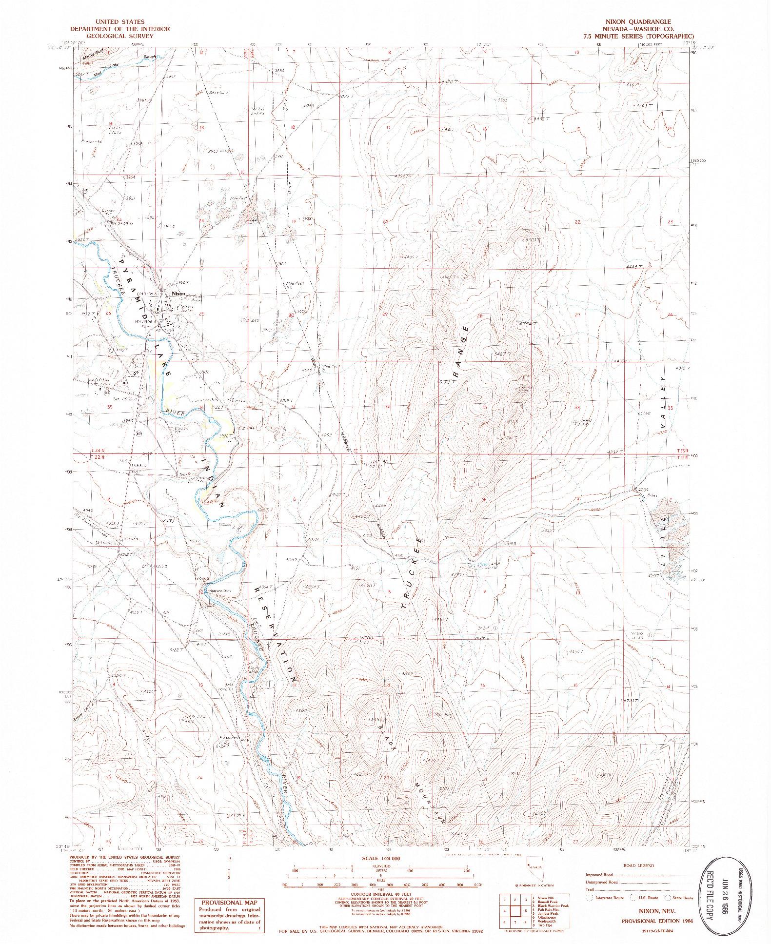 USGS 1:24000-SCALE QUADRANGLE FOR NIXON, NV 1986