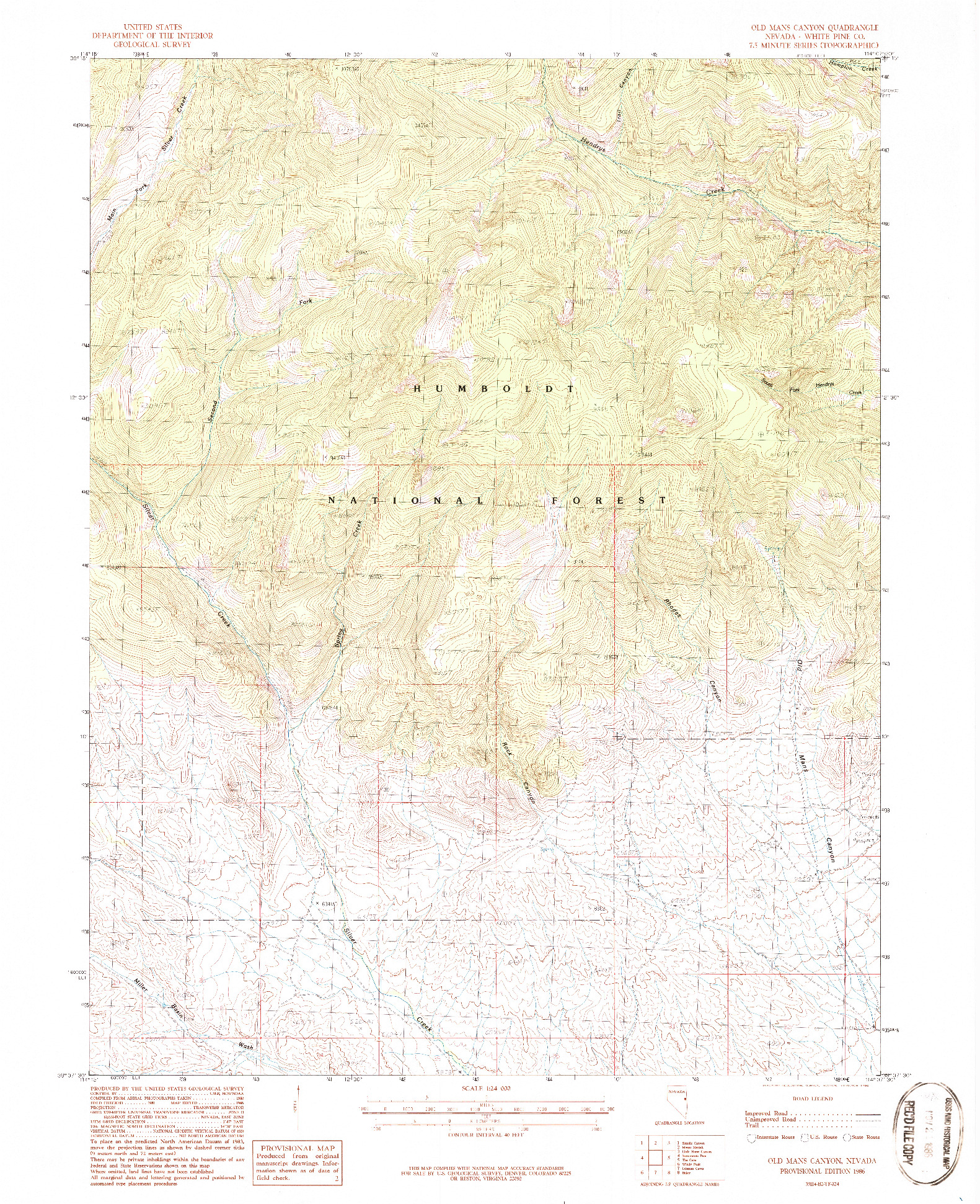 USGS 1:24000-SCALE QUADRANGLE FOR OLD MANS CANYON, NV 1986