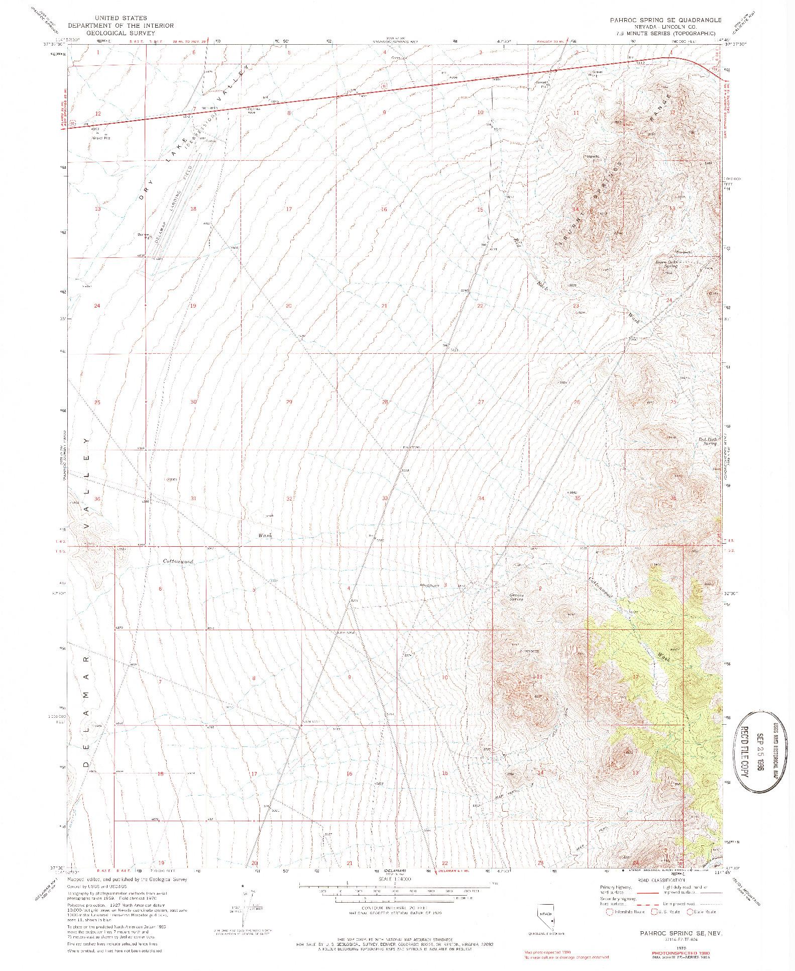 USGS 1:24000-SCALE QUADRANGLE FOR PAHROC SPRING SE, NV 1970