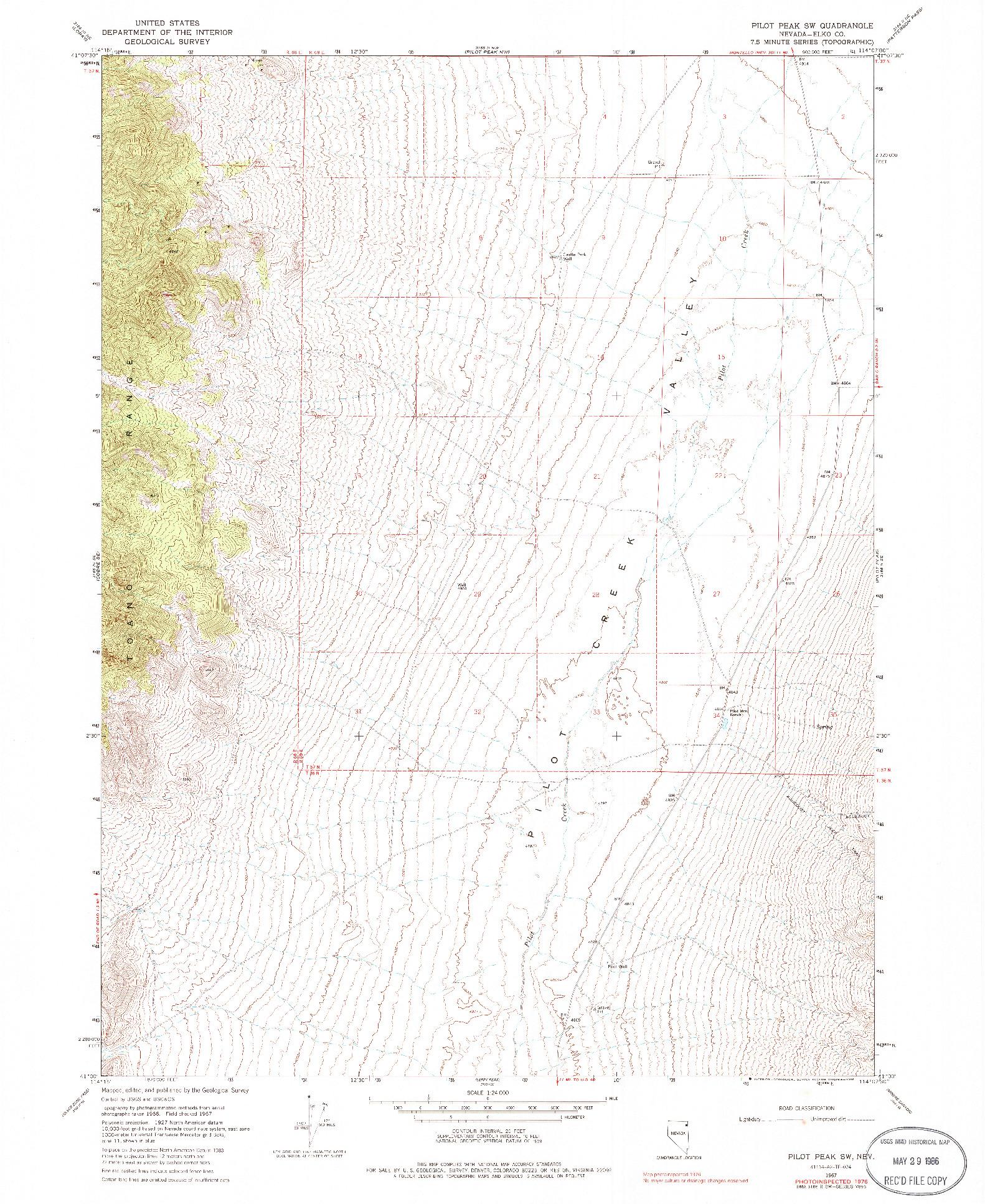 USGS 1:24000-SCALE QUADRANGLE FOR PILOT PEAK SW, NV 1967
