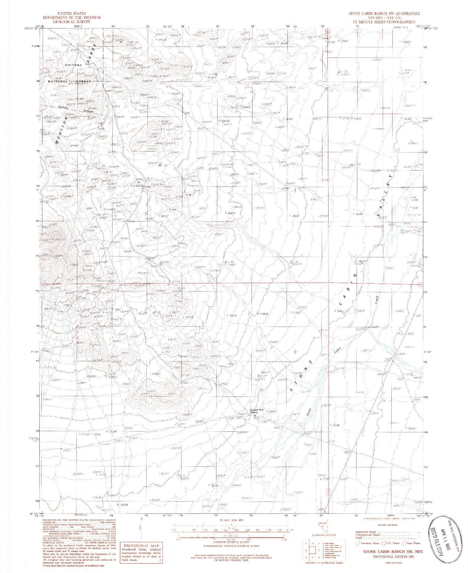 USGS 1:24000-SCALE QUADRANGLE FOR STONE CABIN RANCH SW, NV 1986