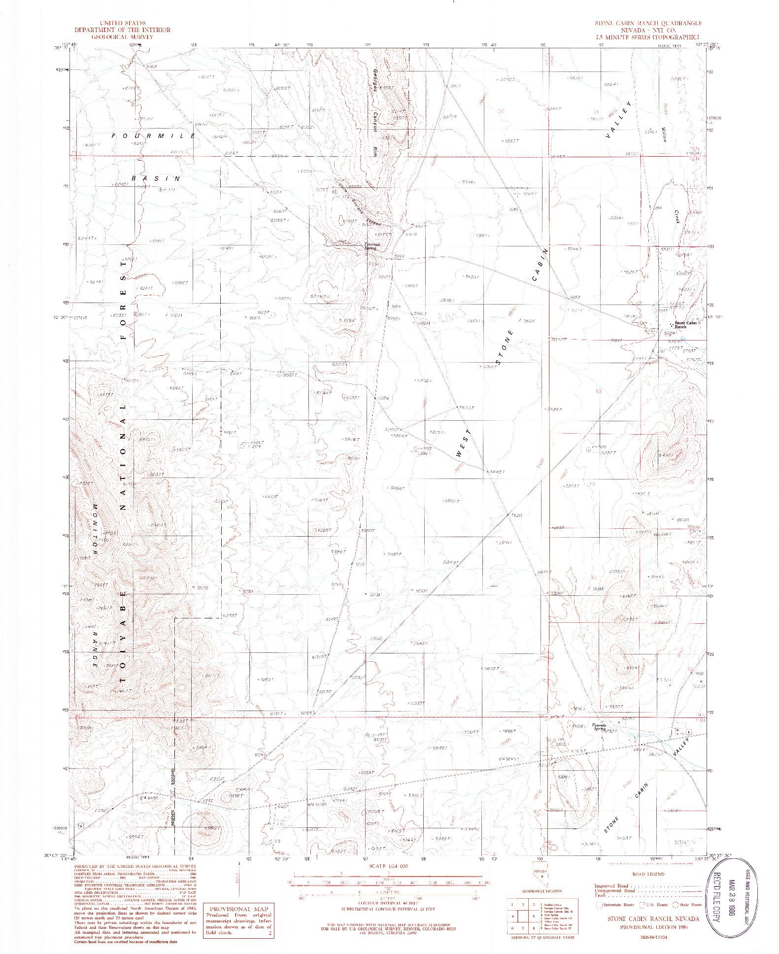 USGS 1:24000-SCALE QUADRANGLE FOR STONE CABIN RANCH, NV 1986
