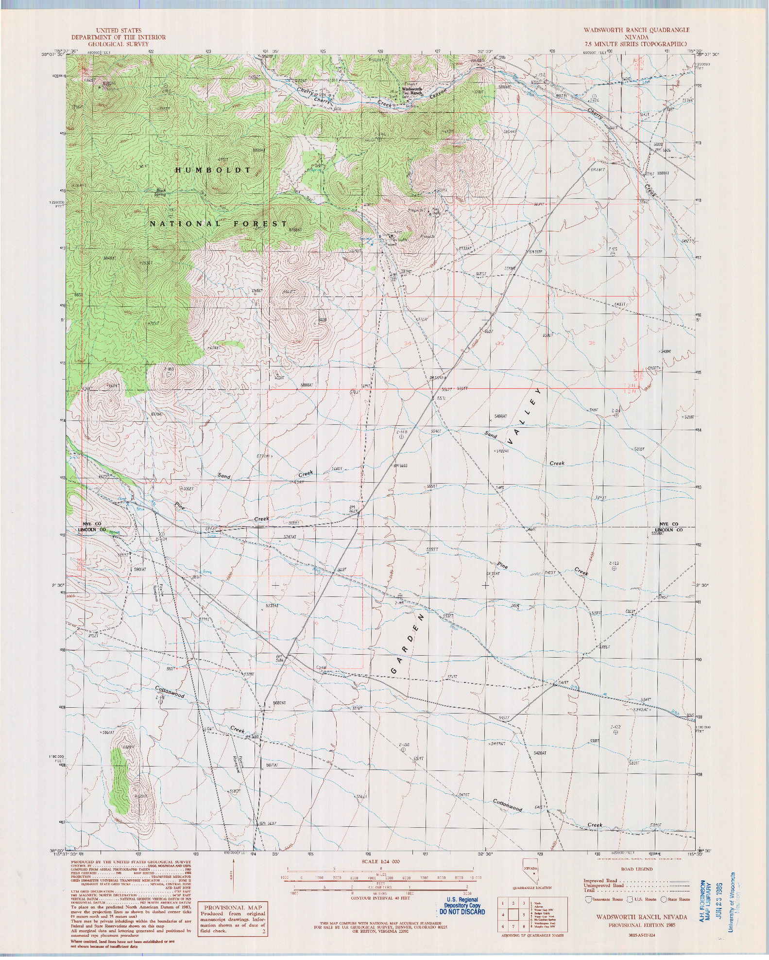 USGS 1:24000-SCALE QUADRANGLE FOR WADSWORTH RANCH, NV 1985