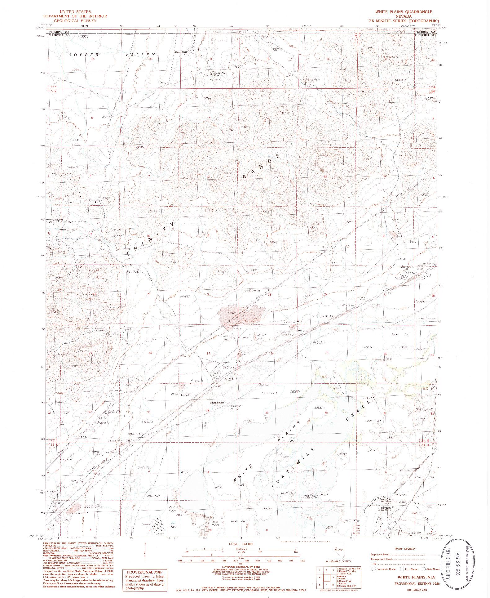 USGS 1:24000-SCALE QUADRANGLE FOR WHITE PLAINS, NV 1986