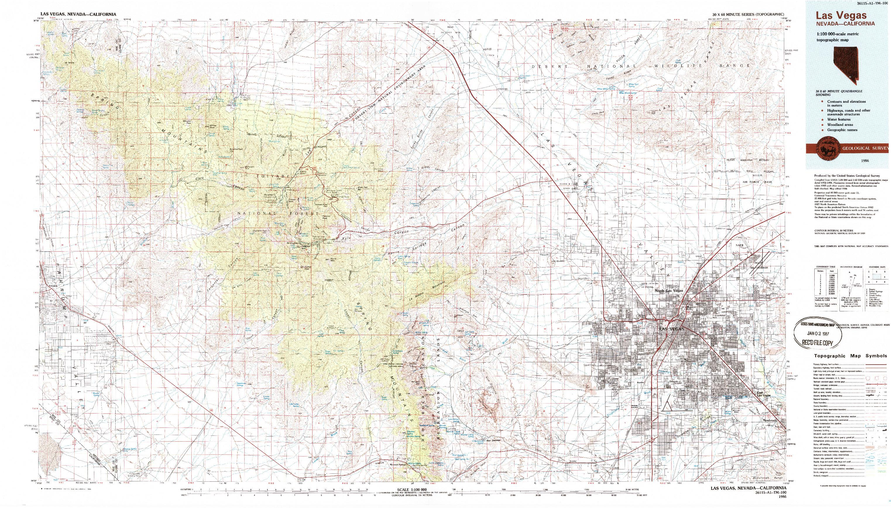 USGS 1:100000-SCALE QUADRANGLE FOR LAS VEGAS, NV 1986