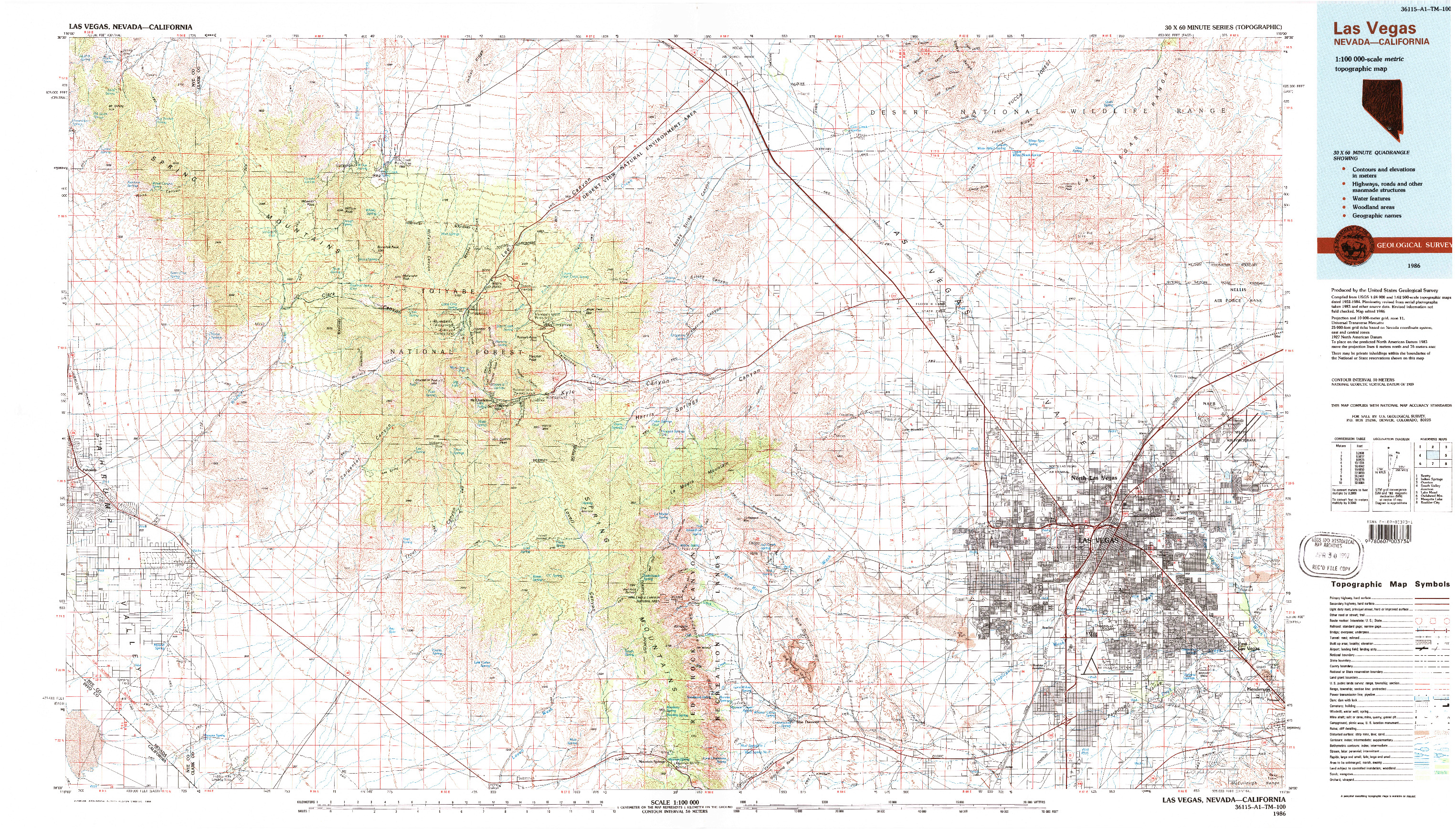 USGS 1:100000-SCALE QUADRANGLE FOR LAS VEGAS, NV 1986