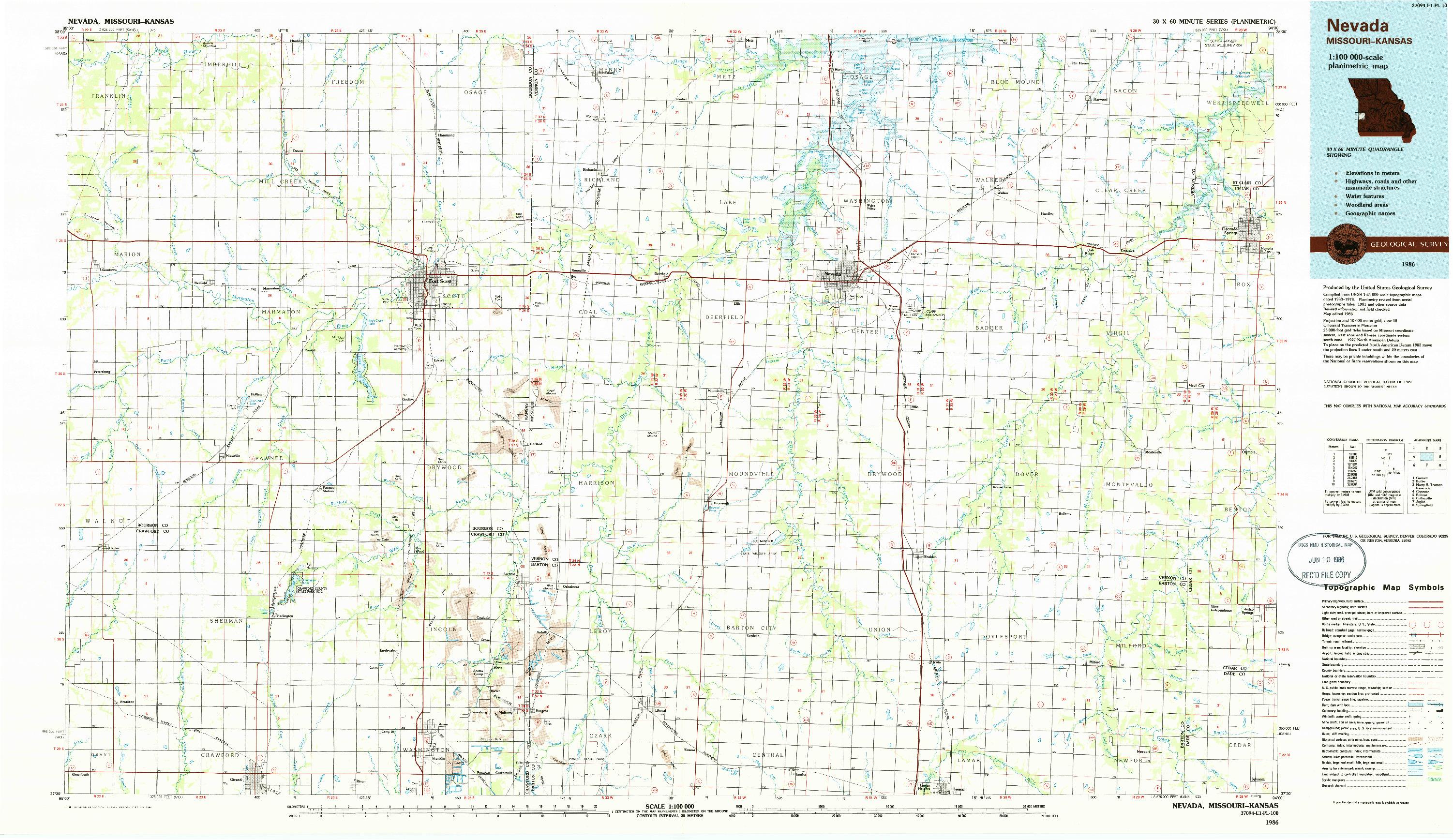 USGS 1:100000-SCALE QUADRANGLE FOR NEVADA, MO 1986