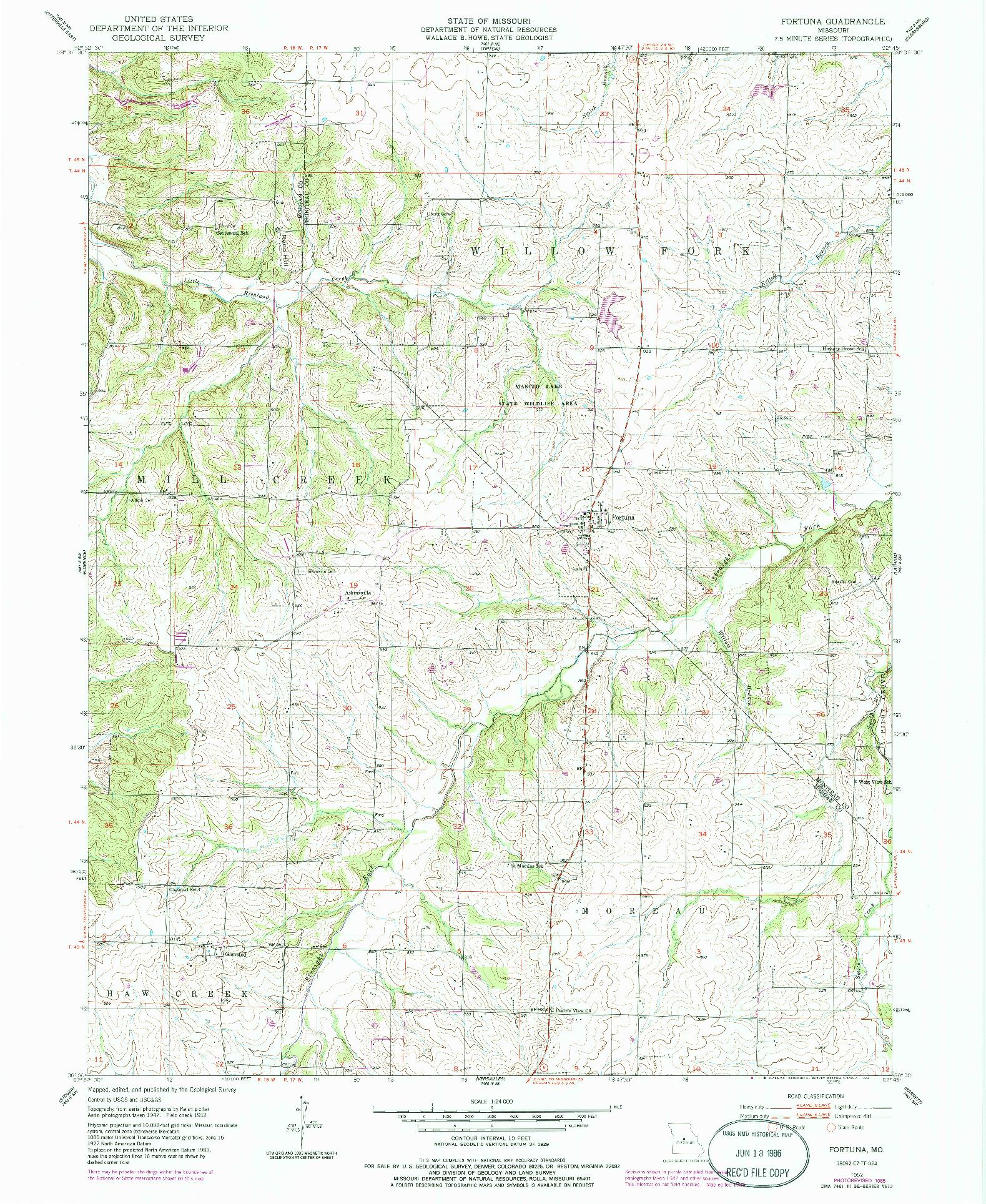 USGS 1:24000-SCALE QUADRANGLE FOR FORTUNA, MO 1952