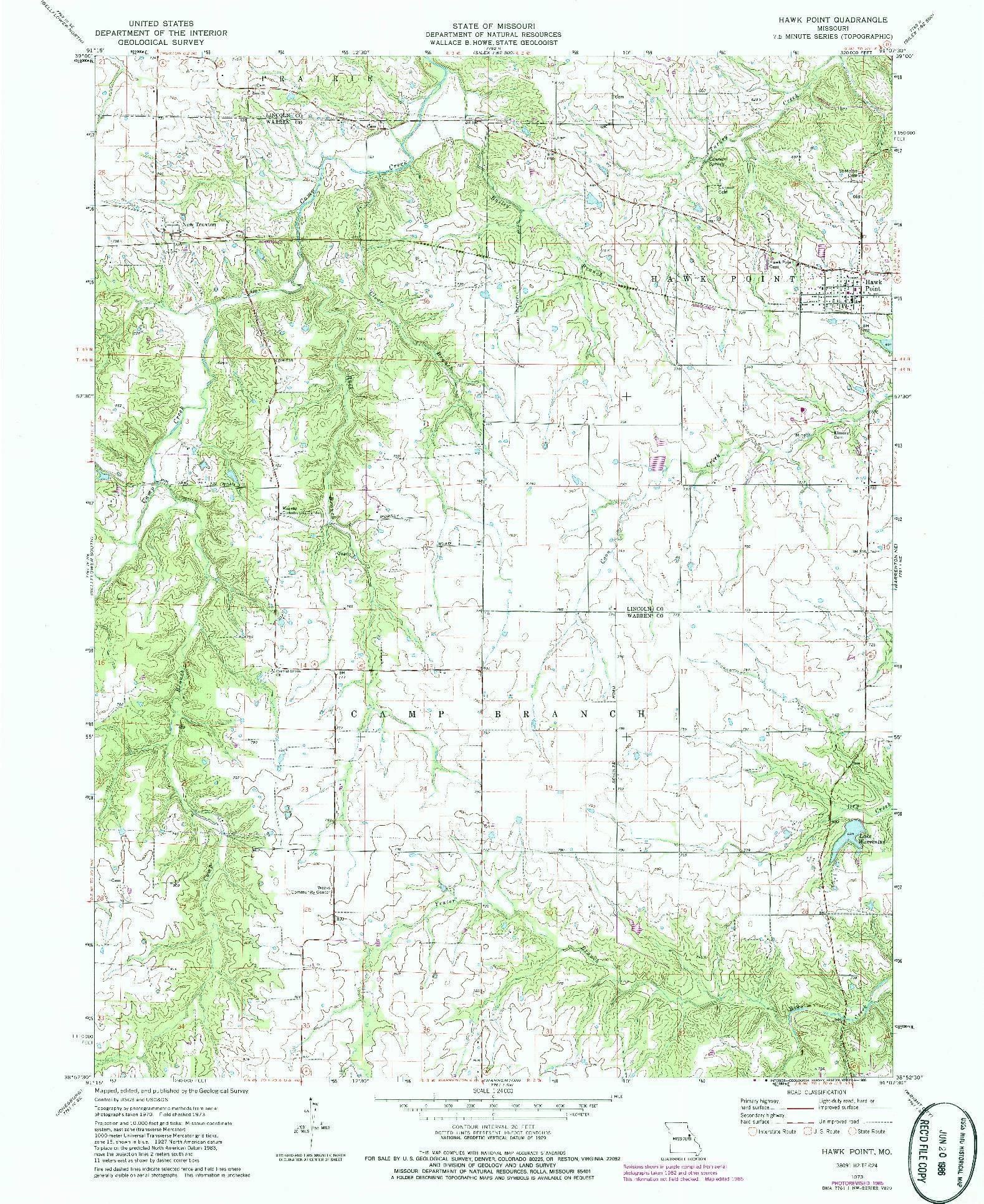 USGS 1:24000-SCALE QUADRANGLE FOR HAWK POINT, MO 1973