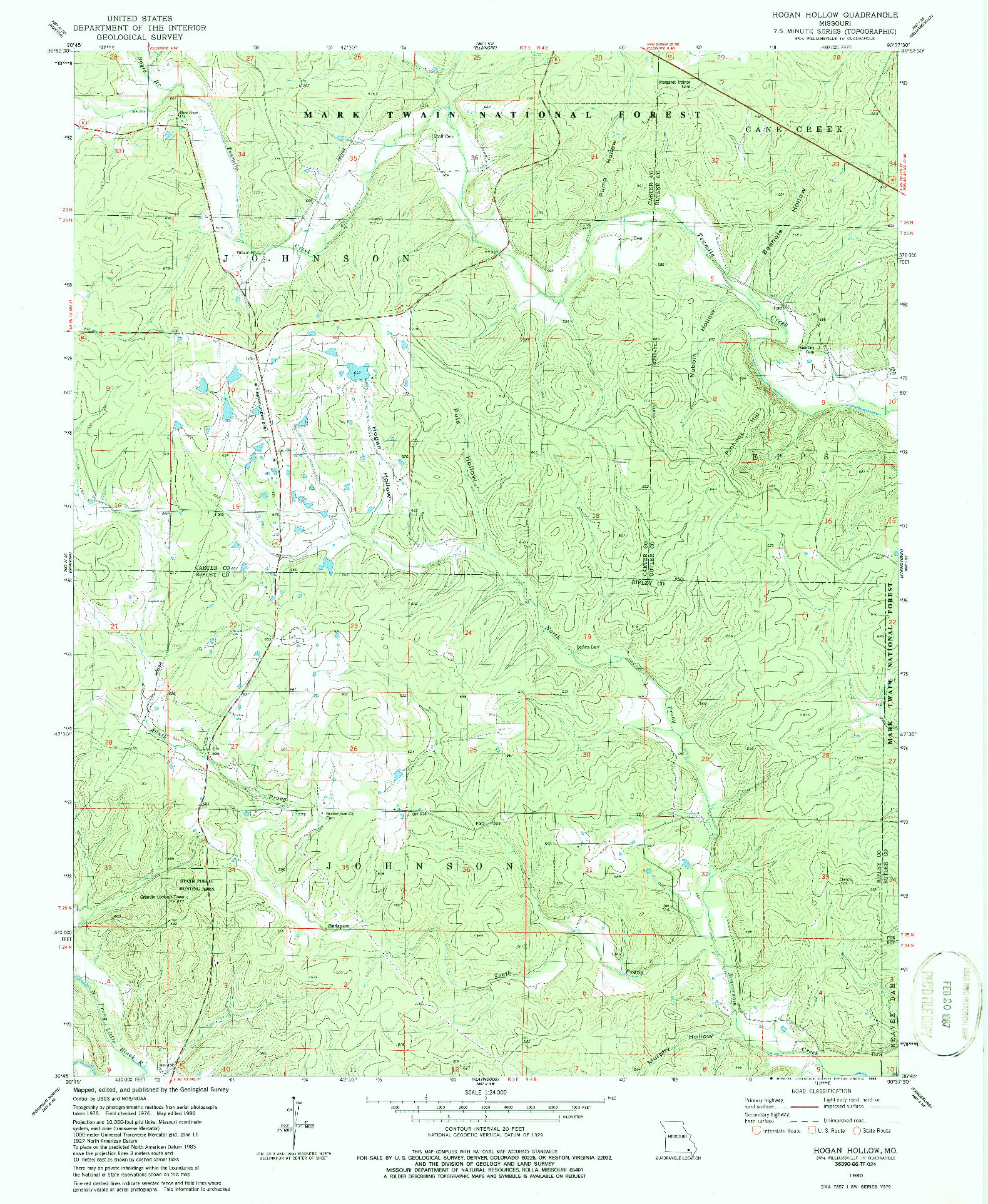 USGS 1:24000-SCALE QUADRANGLE FOR HOGAN HOLLOW, MO 1980