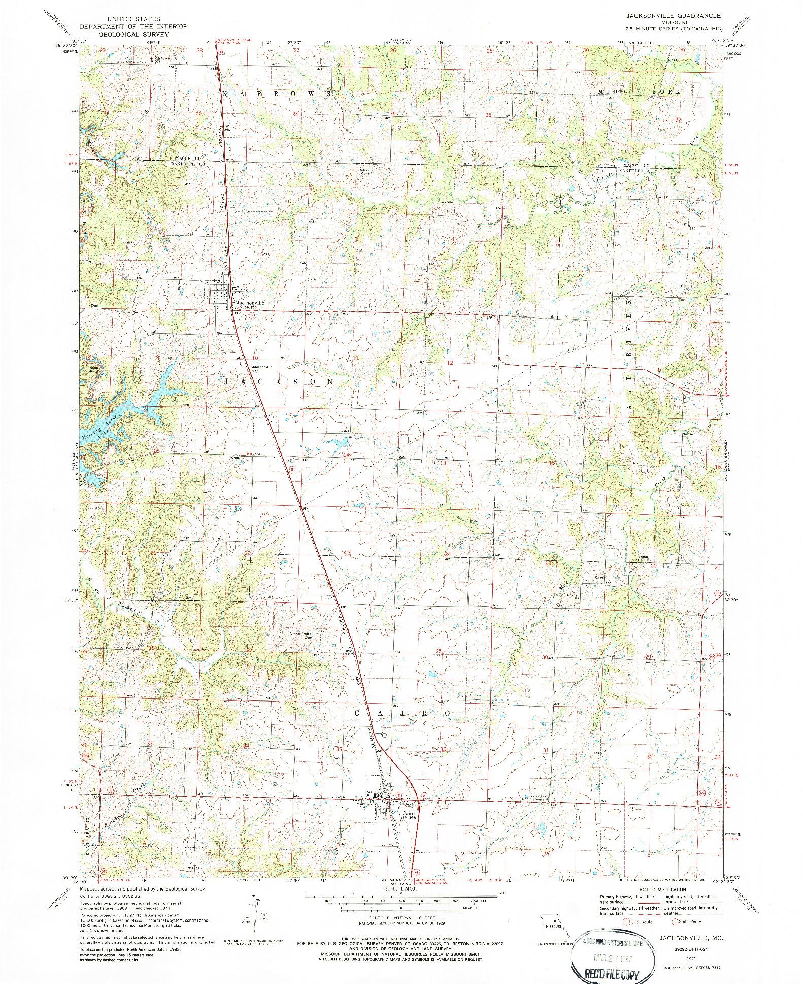 USGS 1:24000-SCALE QUADRANGLE FOR JACKSONVILLE, MO 1971