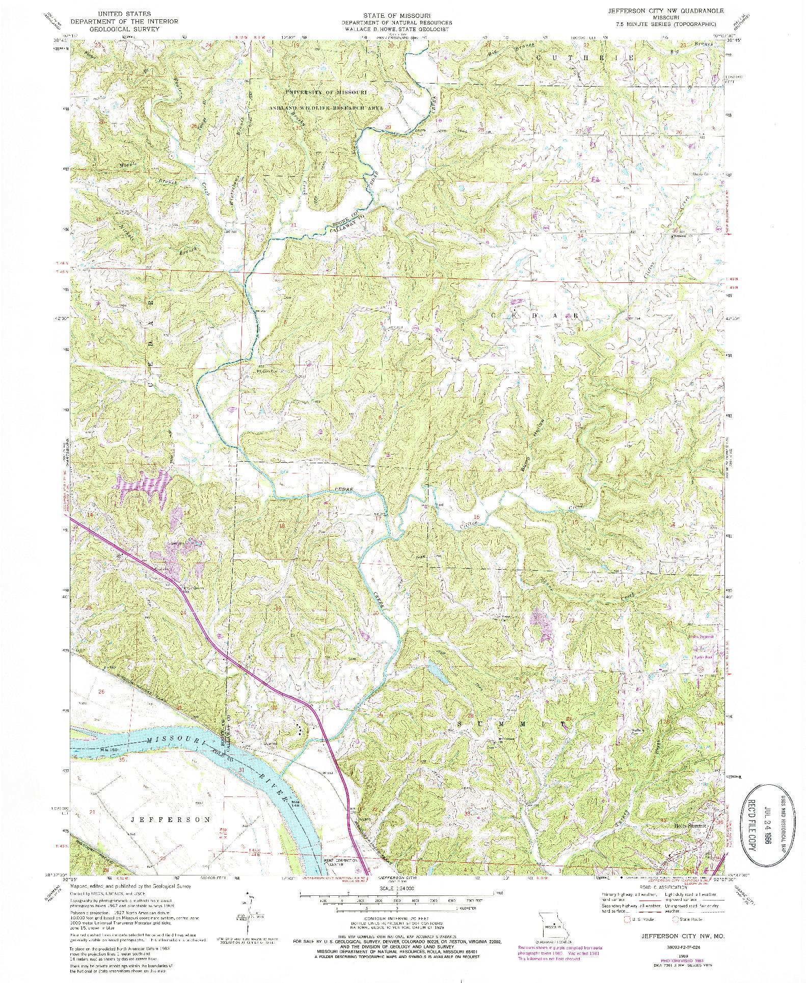 USGS 1:24000-SCALE QUADRANGLE FOR JEFFERSON CITY NW, MO 1969