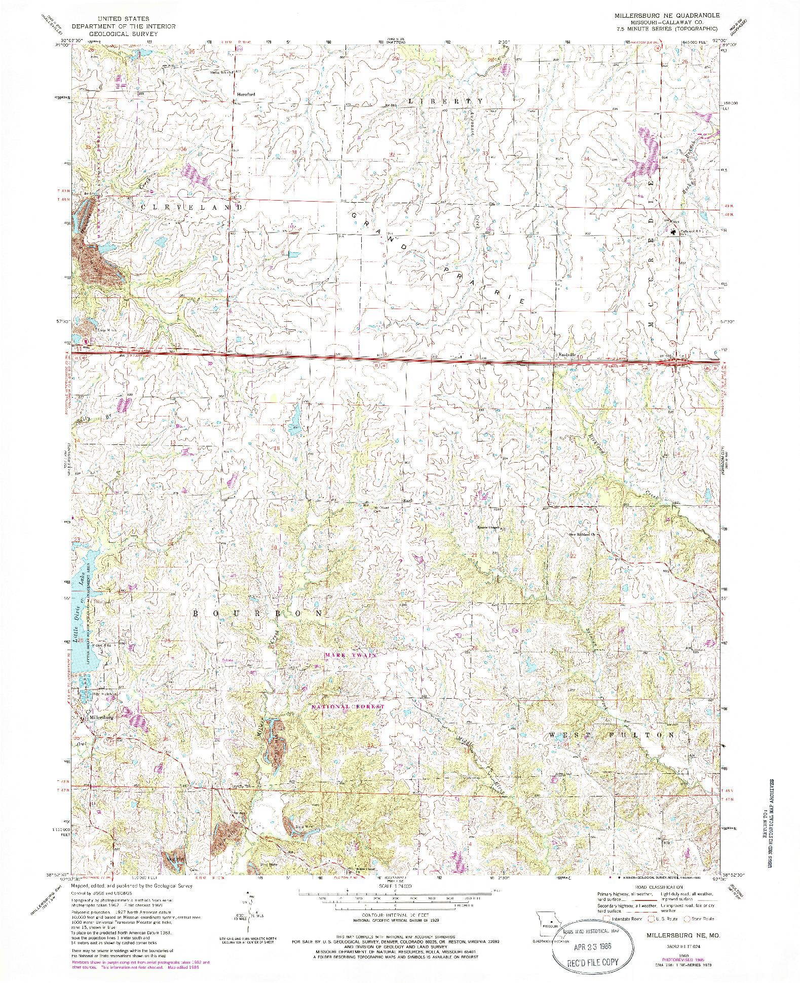 USGS 1:24000-SCALE QUADRANGLE FOR MILLERSBURG NE, MO 1969