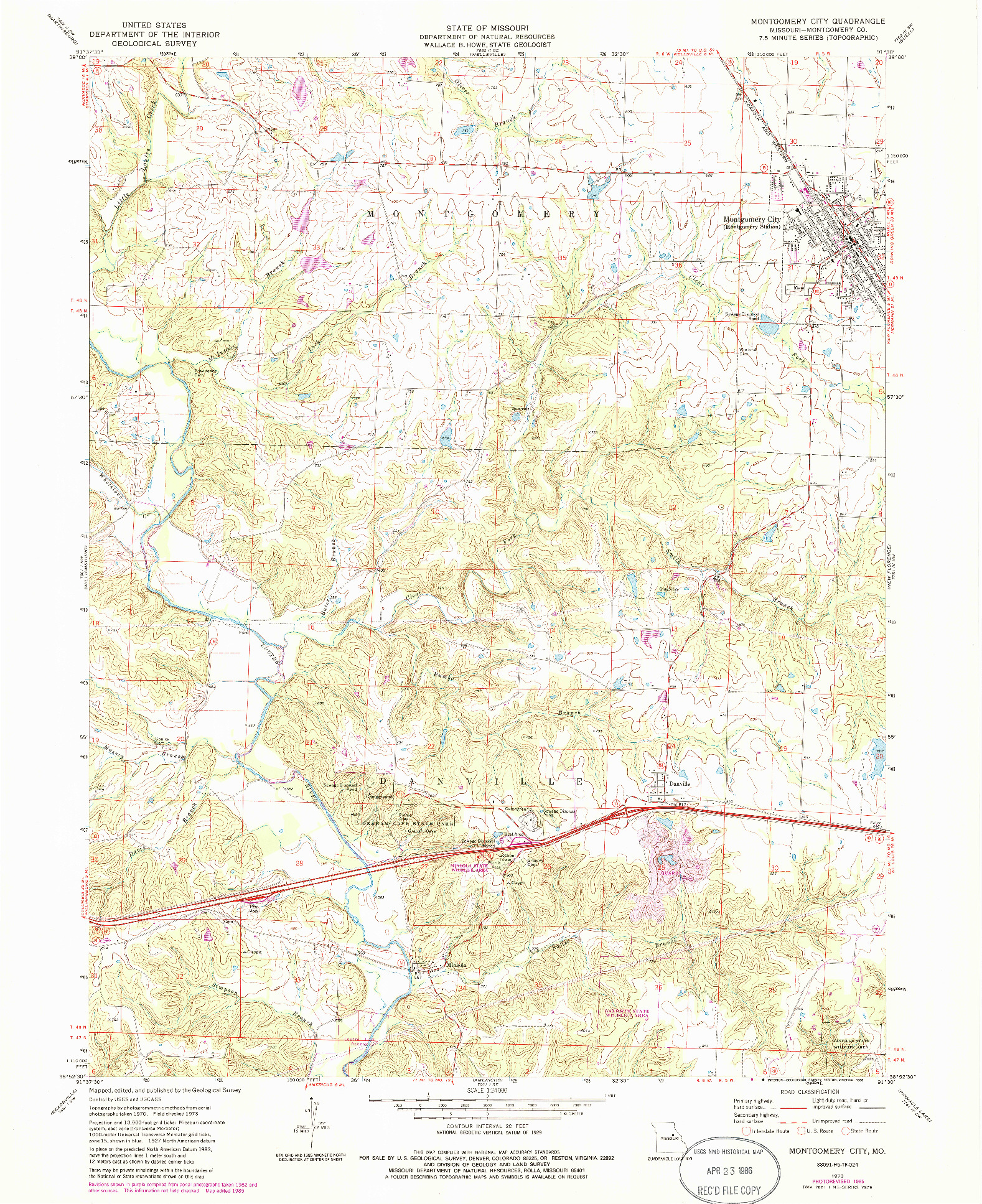 USGS 1:24000-SCALE QUADRANGLE FOR MONTGOMERY CITY, MO 1973