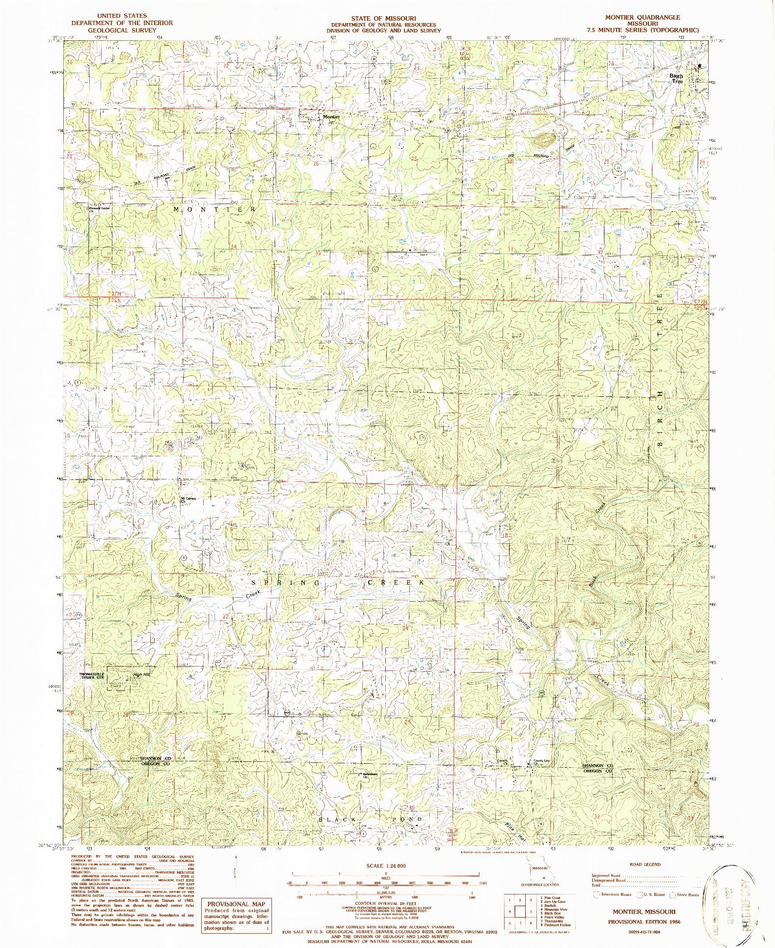 USGS 1:24000-SCALE QUADRANGLE FOR MONTIER, MO 1986