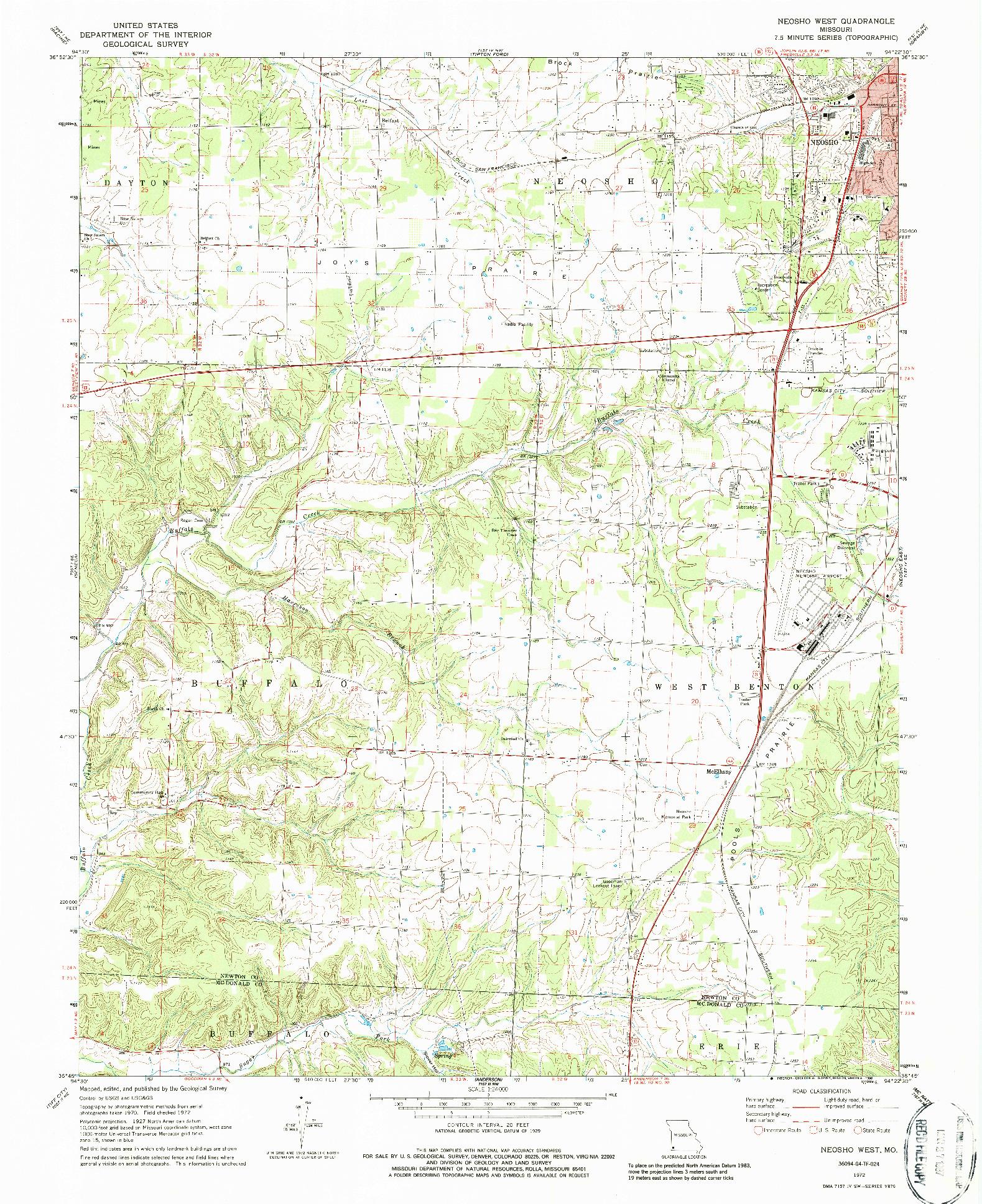 USGS 1:24000-SCALE QUADRANGLE FOR NEOSHO WEST, MO 1972