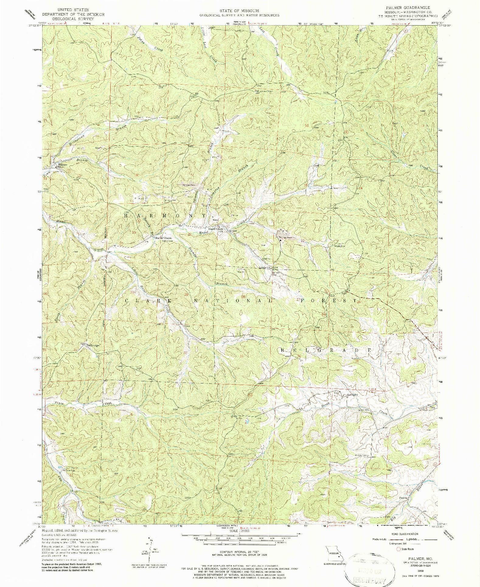 USGS 1:24000-SCALE QUADRANGLE FOR PALMER, MO 1958