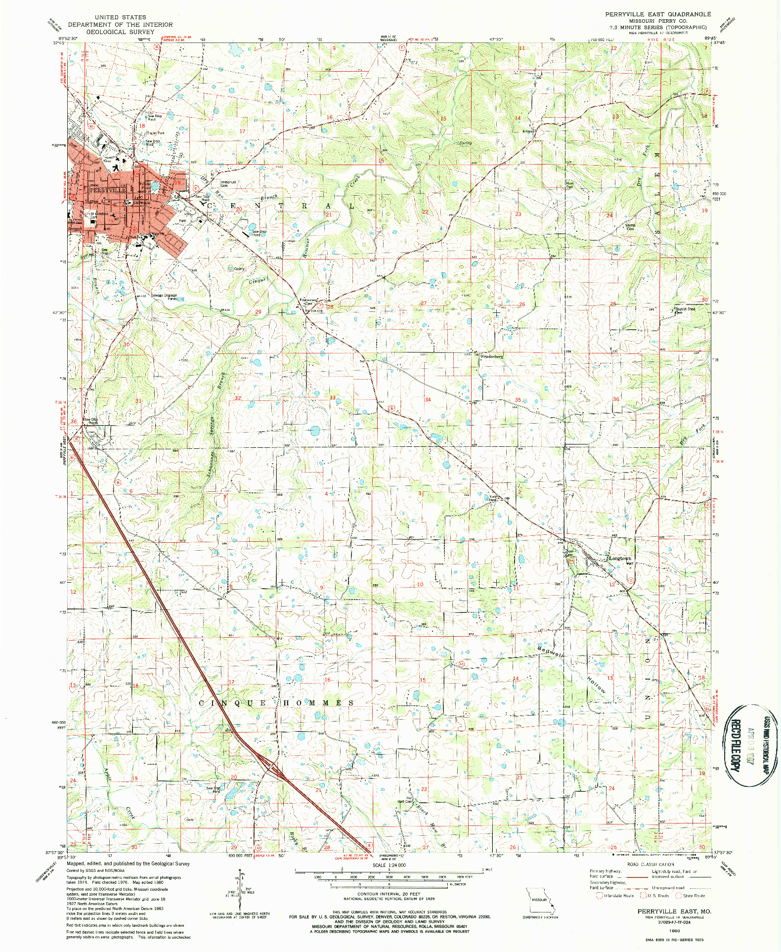 USGS 1:24000-SCALE QUADRANGLE FOR PERRYVILLE EAST, MO 1980