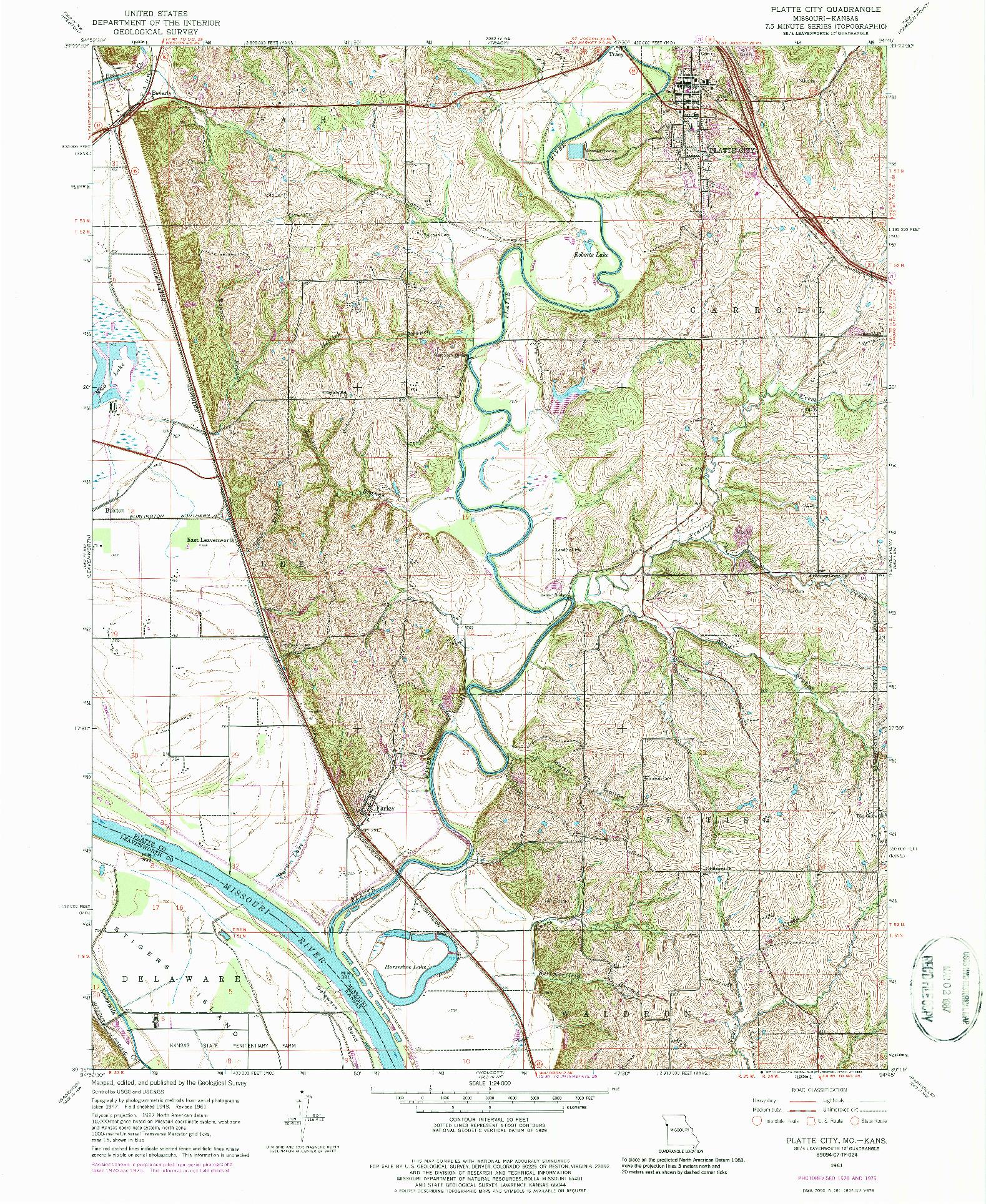 USGS 1:24000-SCALE QUADRANGLE FOR PLATTE CITY, MO 1961