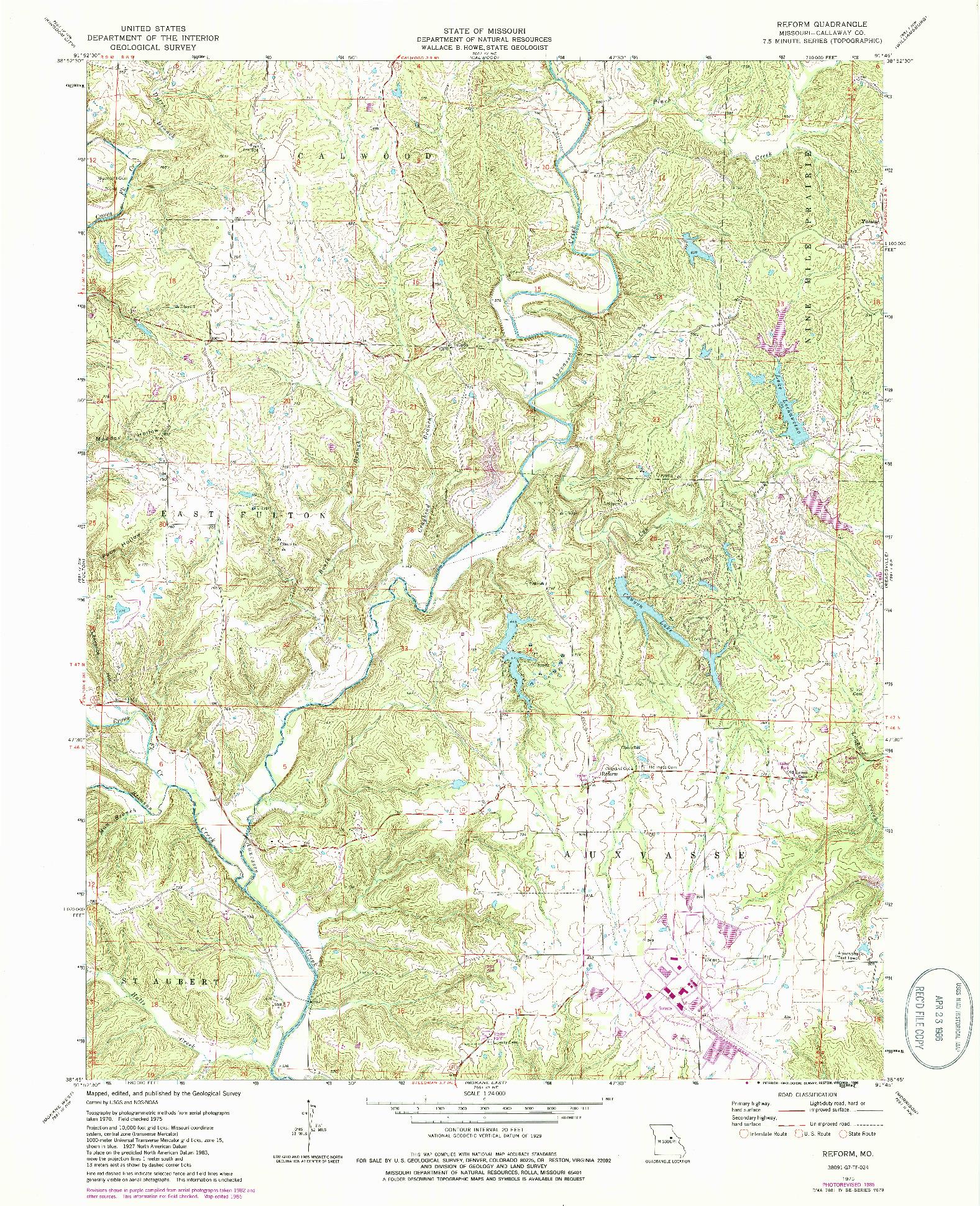 USGS 1:24000-SCALE QUADRANGLE FOR REFORM, MO 1975