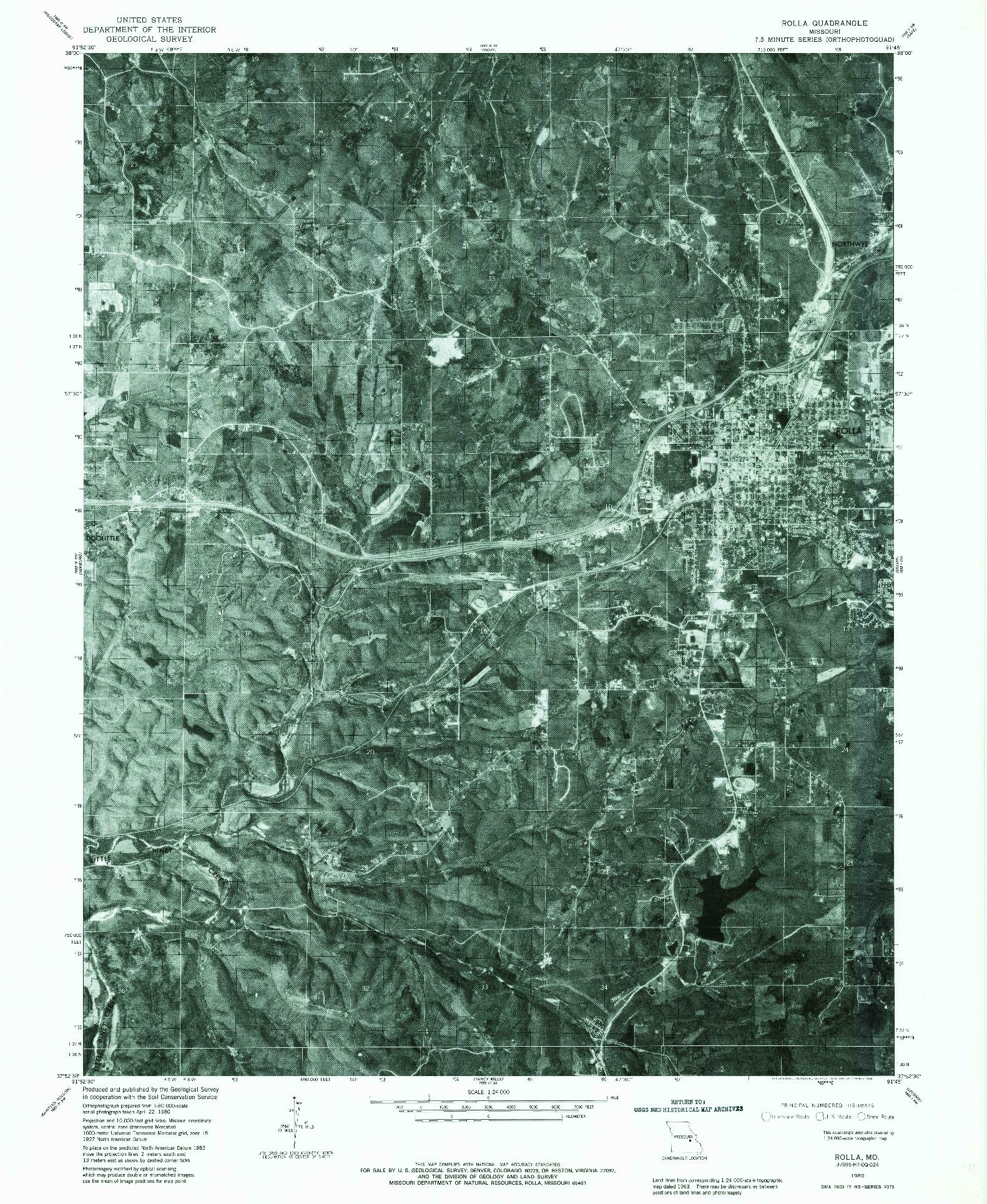 USGS 1:24000-SCALE QUADRANGLE FOR ROLLA, MO 1980