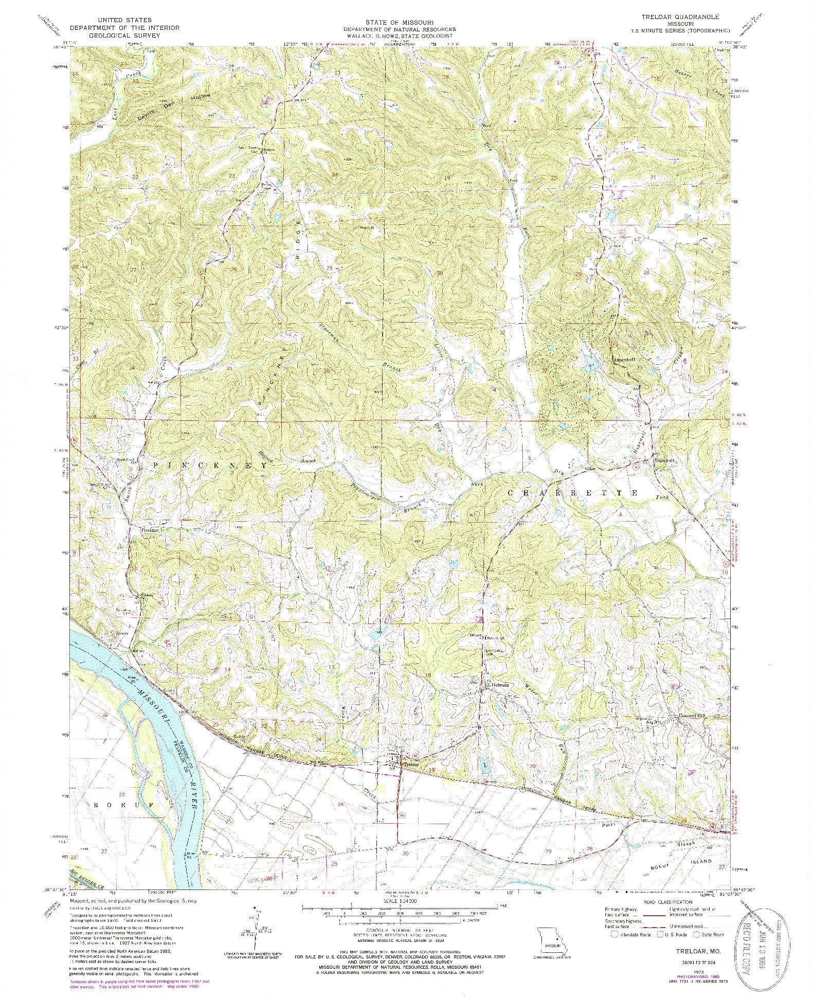 USGS 1:24000-SCALE QUADRANGLE FOR TRELOAR, MO 1973
