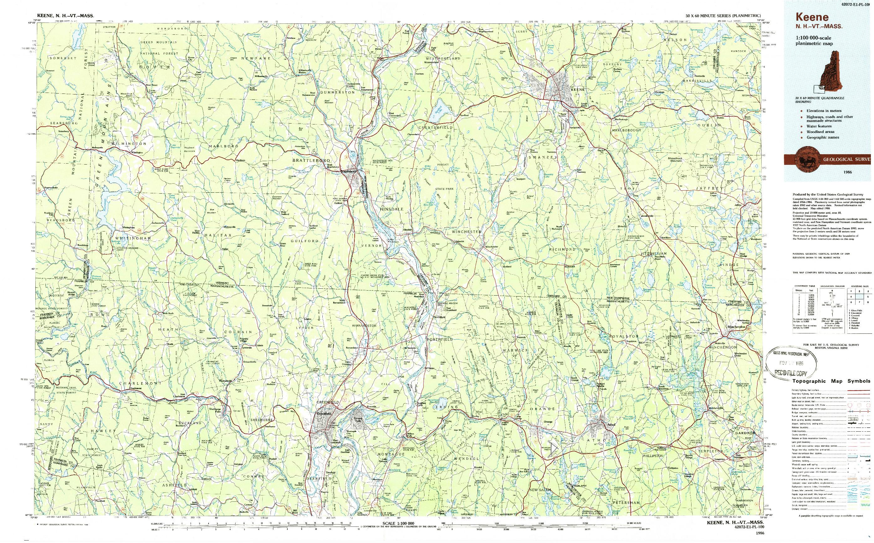 USGS 1:100000-SCALE QUADRANGLE FOR KEENE, NH 1986