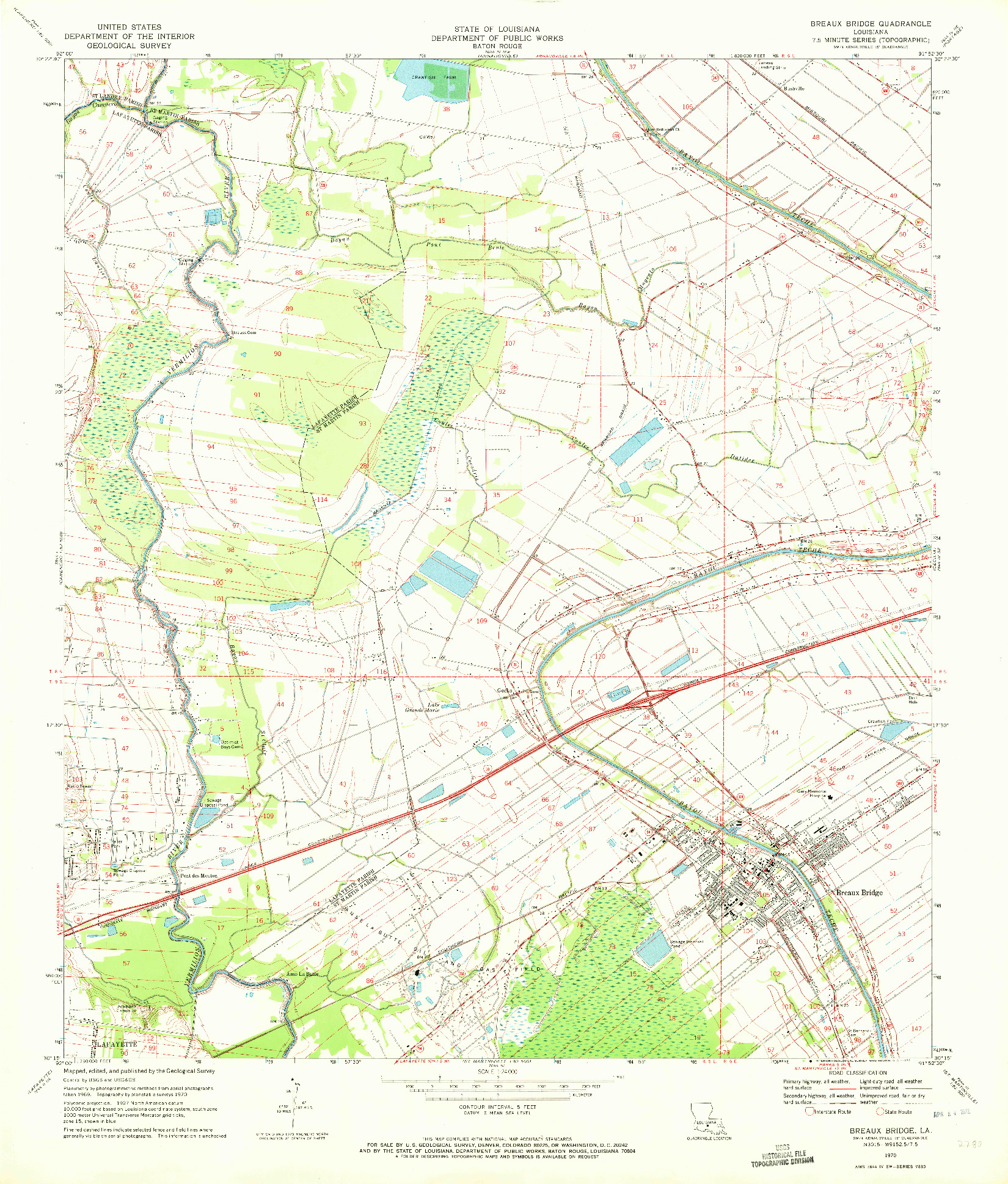USGS 1:24000-SCALE QUADRANGLE FOR BREAUX BRIDGE, LA 1970