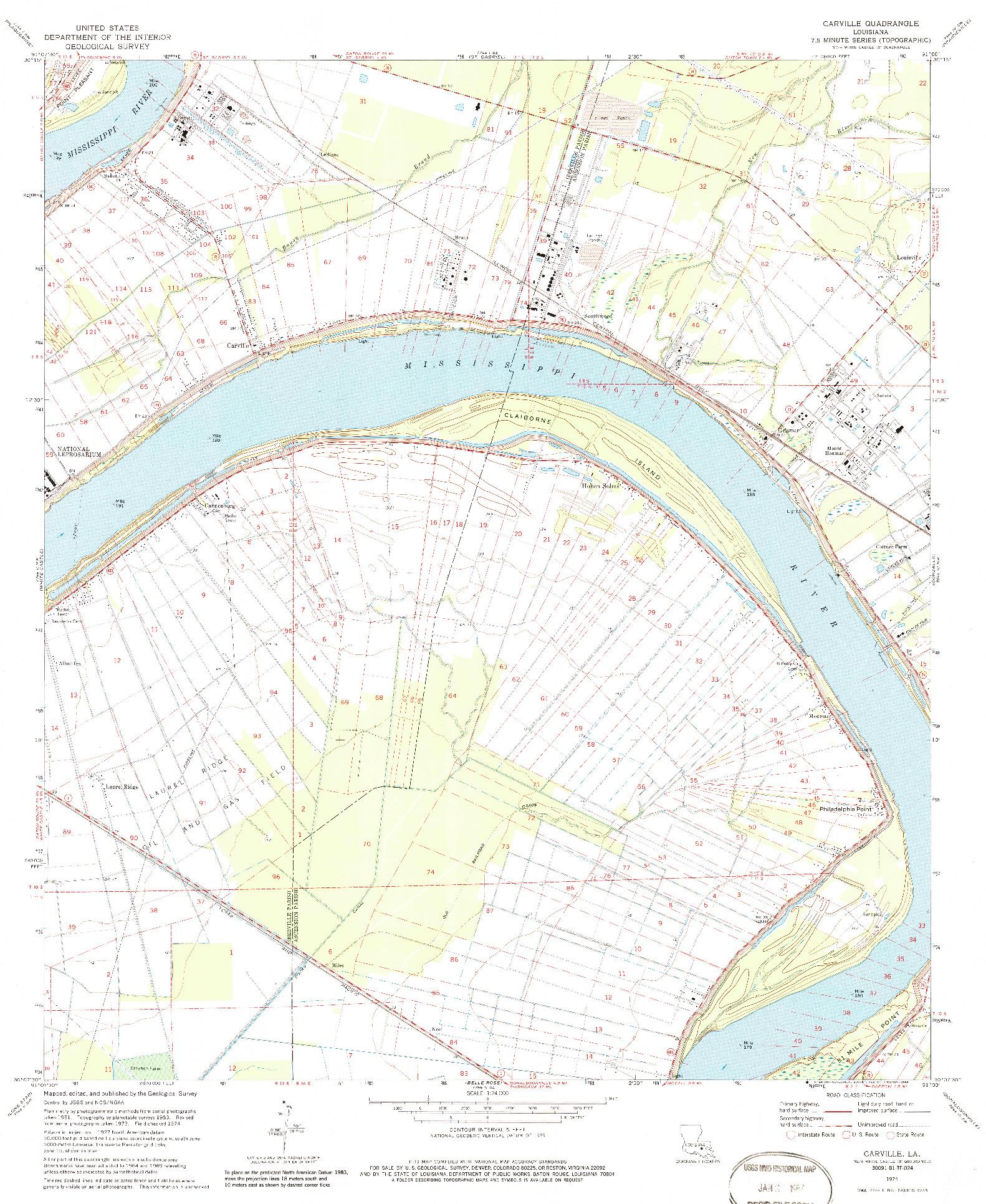 USGS 1:24000-SCALE QUADRANGLE FOR CARVILLE, LA 1974