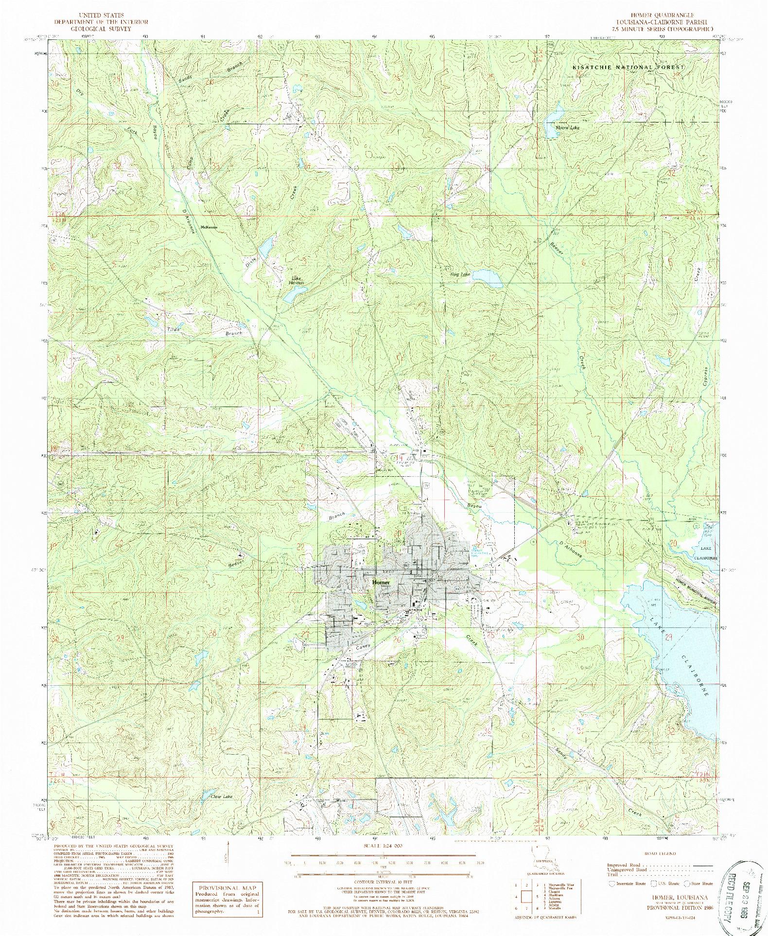 USGS 1:24000-SCALE QUADRANGLE FOR HOMER, LA 1986