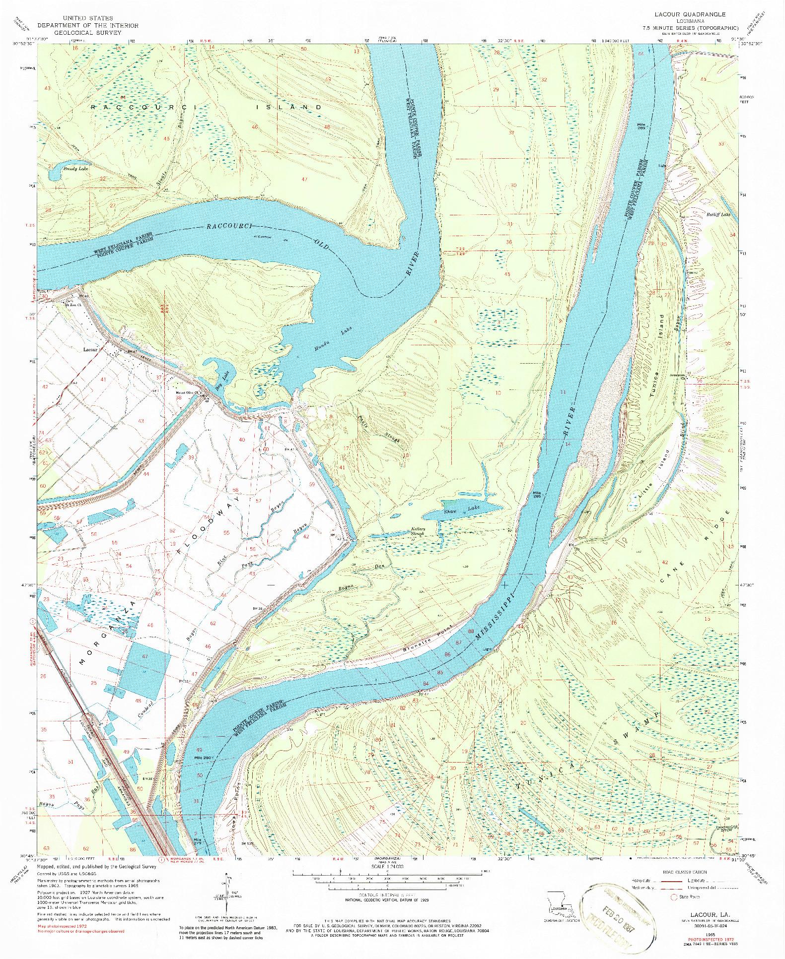 USGS 1:24000-SCALE QUADRANGLE FOR LACOUR, LA 1965