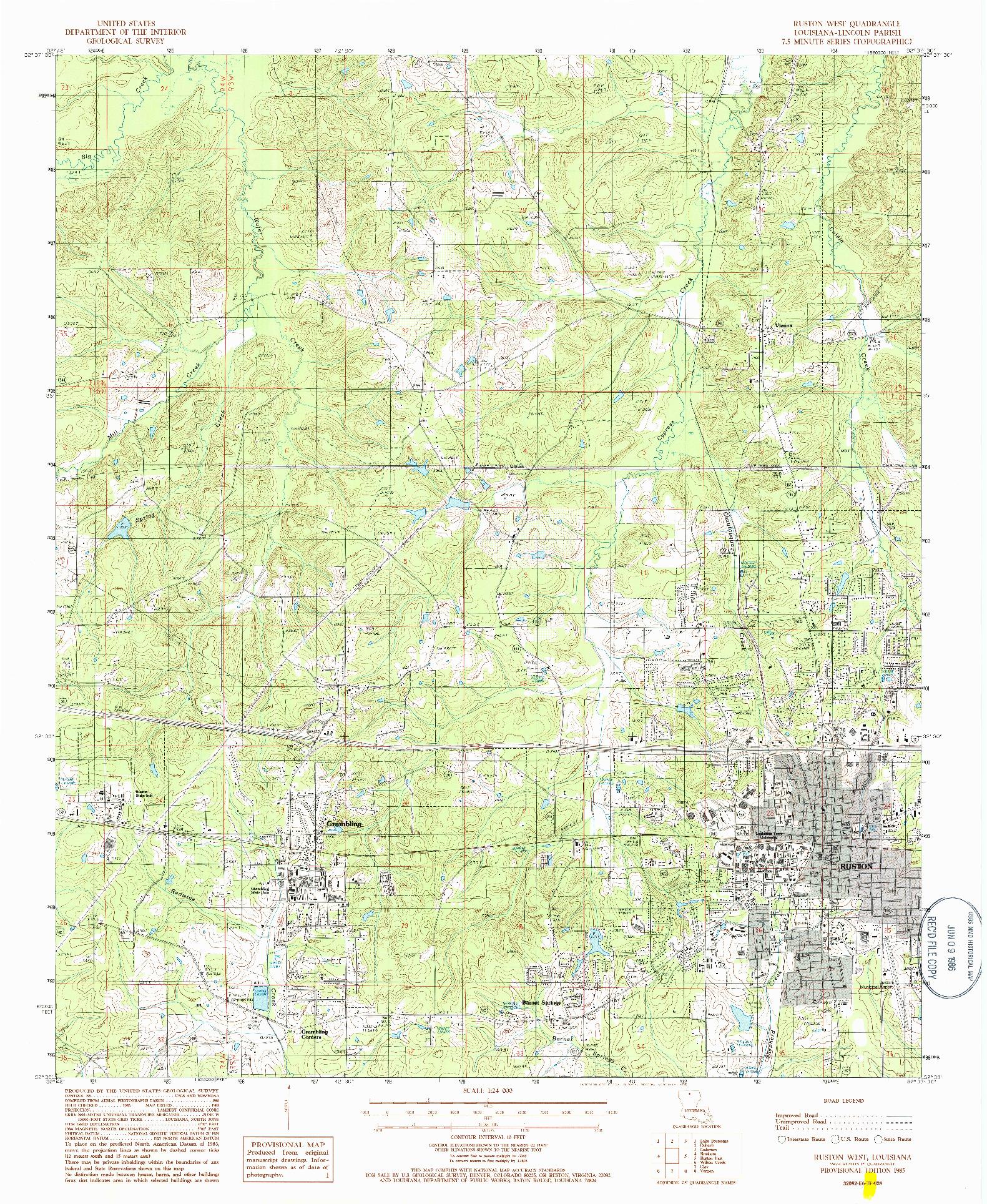 USGS 1:24000-SCALE QUADRANGLE FOR RUSTON WEST, LA 1985