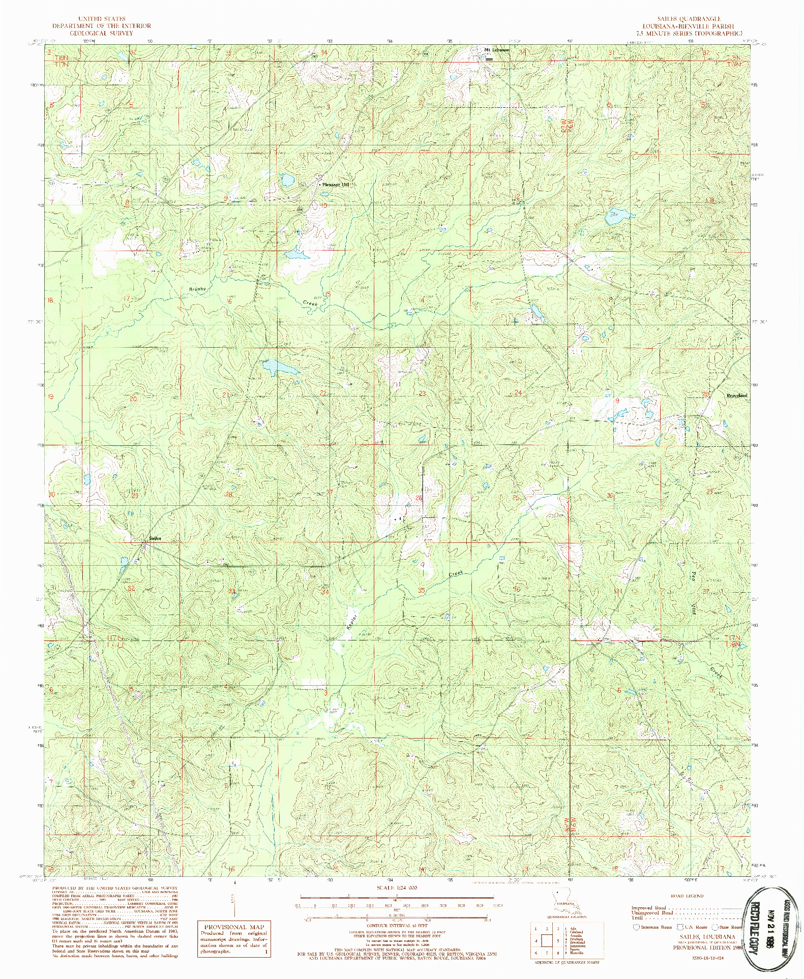USGS 1:24000-SCALE QUADRANGLE FOR SAILES, LA 1986
