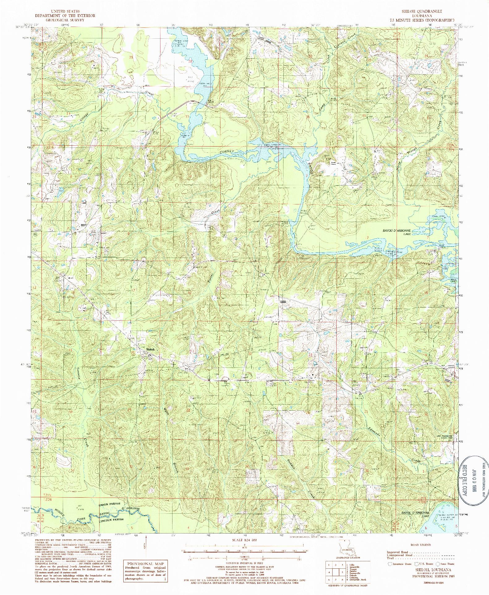 USGS 1:24000-SCALE QUADRANGLE FOR SHILOH, LA 1985