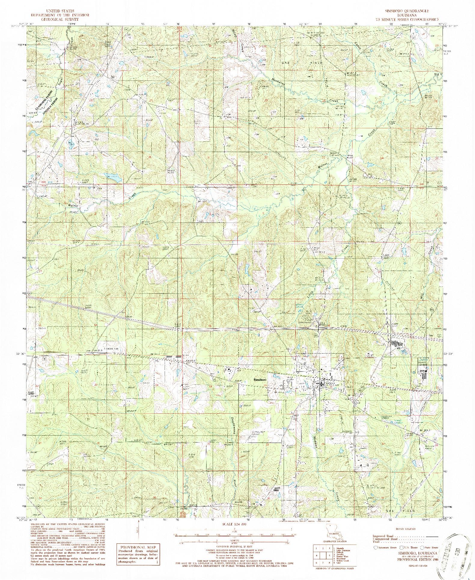 USGS 1:24000-SCALE QUADRANGLE FOR SIMSBORO, LA 1986