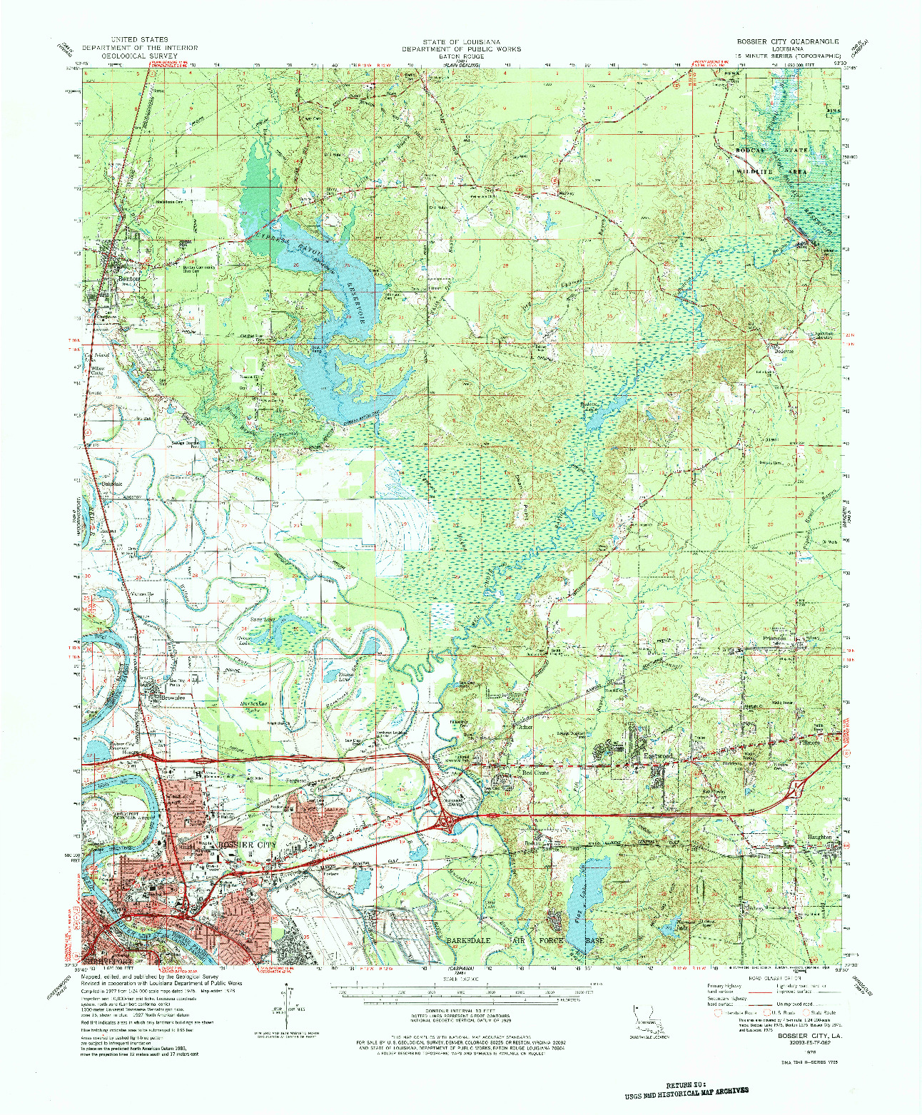 USGS 1:62500-SCALE QUADRANGLE FOR BOSSIER CITY, LA 1978