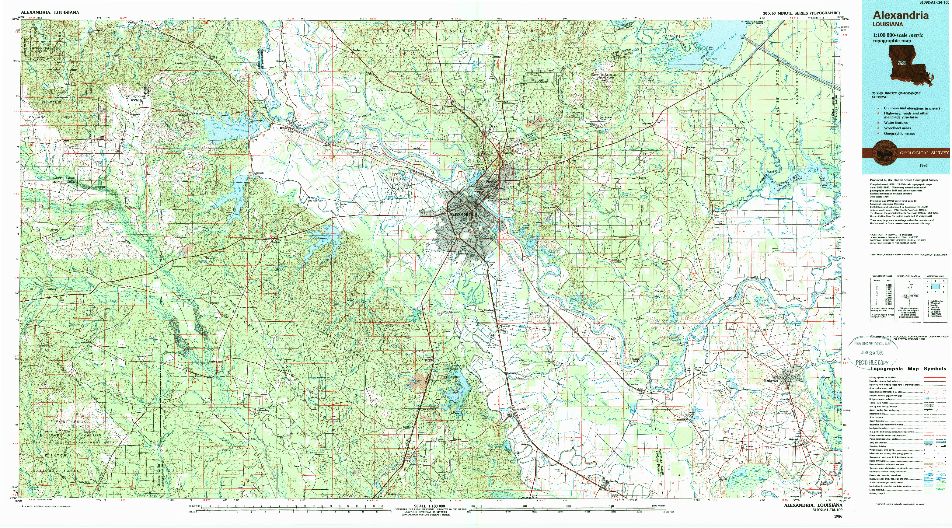 USGS 1:100000-SCALE QUADRANGLE FOR ALEXANDRIA, LA 1986