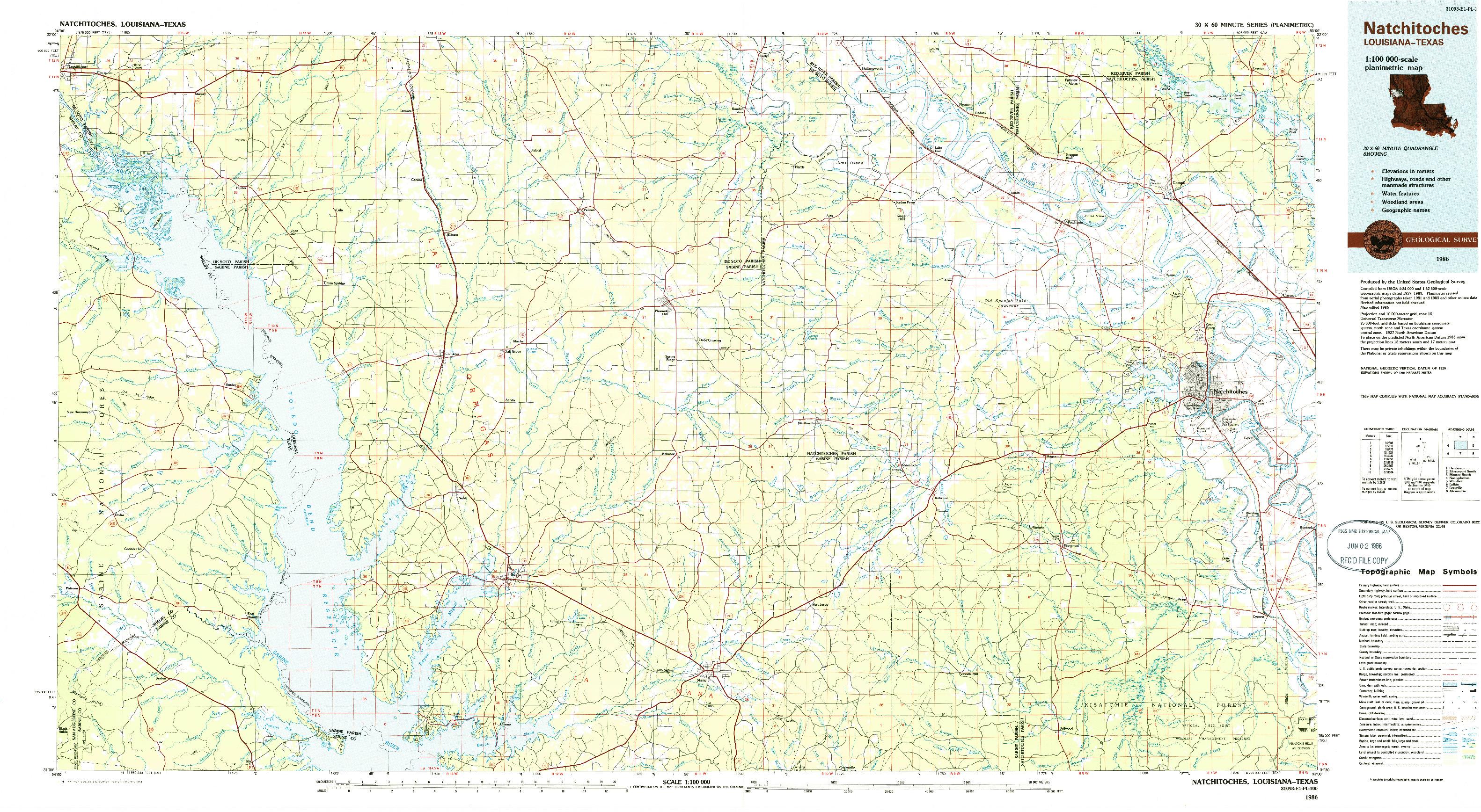 USGS 1:100000-SCALE QUADRANGLE FOR NATCHITOCHES, LA 1986