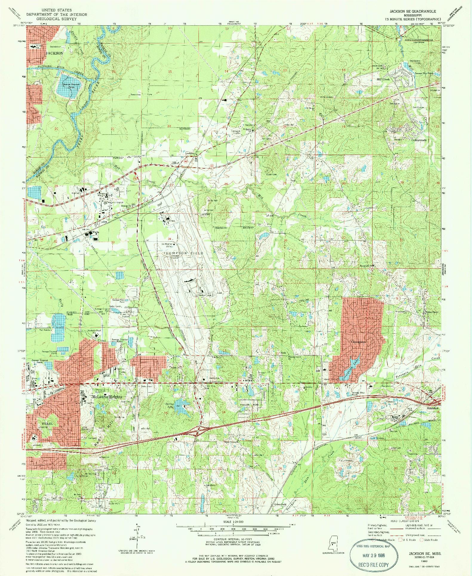 USGS 1:24000-SCALE QUADRANGLE FOR JACKSON SE, MS 1980