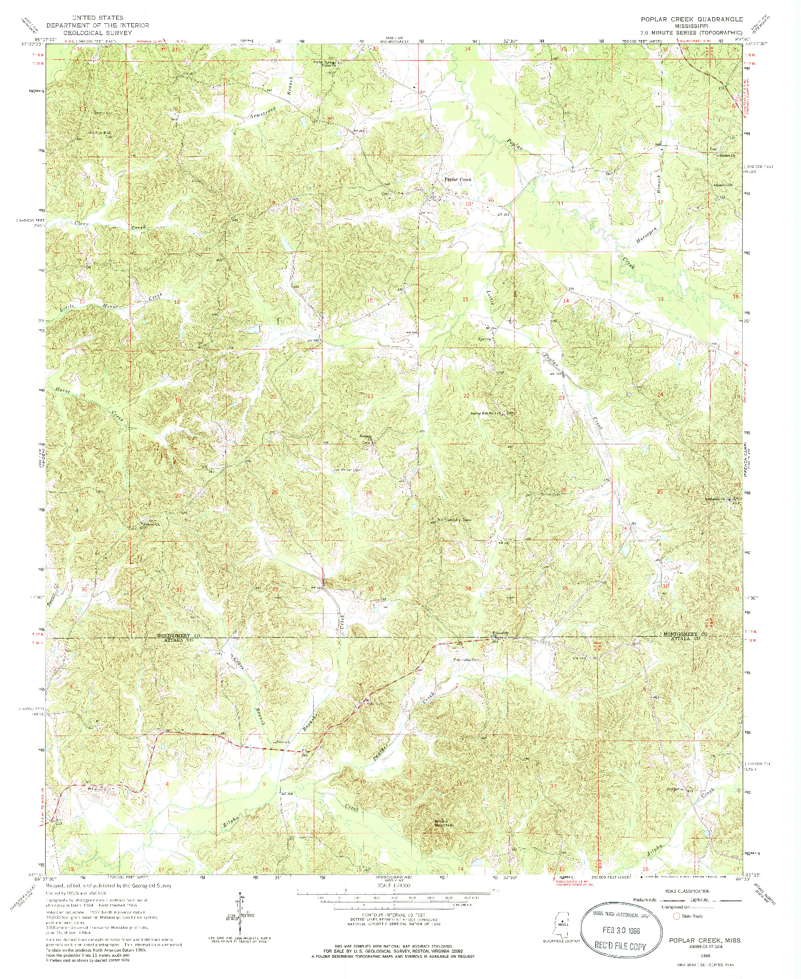 USGS 1:24000-SCALE QUADRANGLE FOR POPLAR CREEK, MS 1966