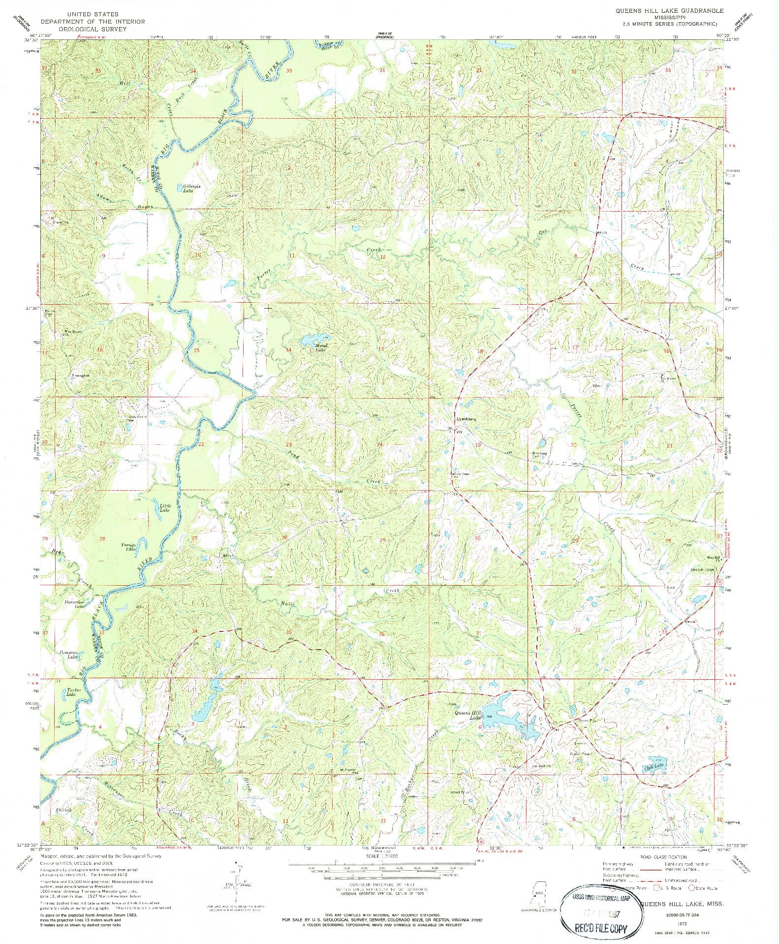 USGS 1:24000-SCALE QUADRANGLE FOR QUEENS HILL LAKE, MS 1972