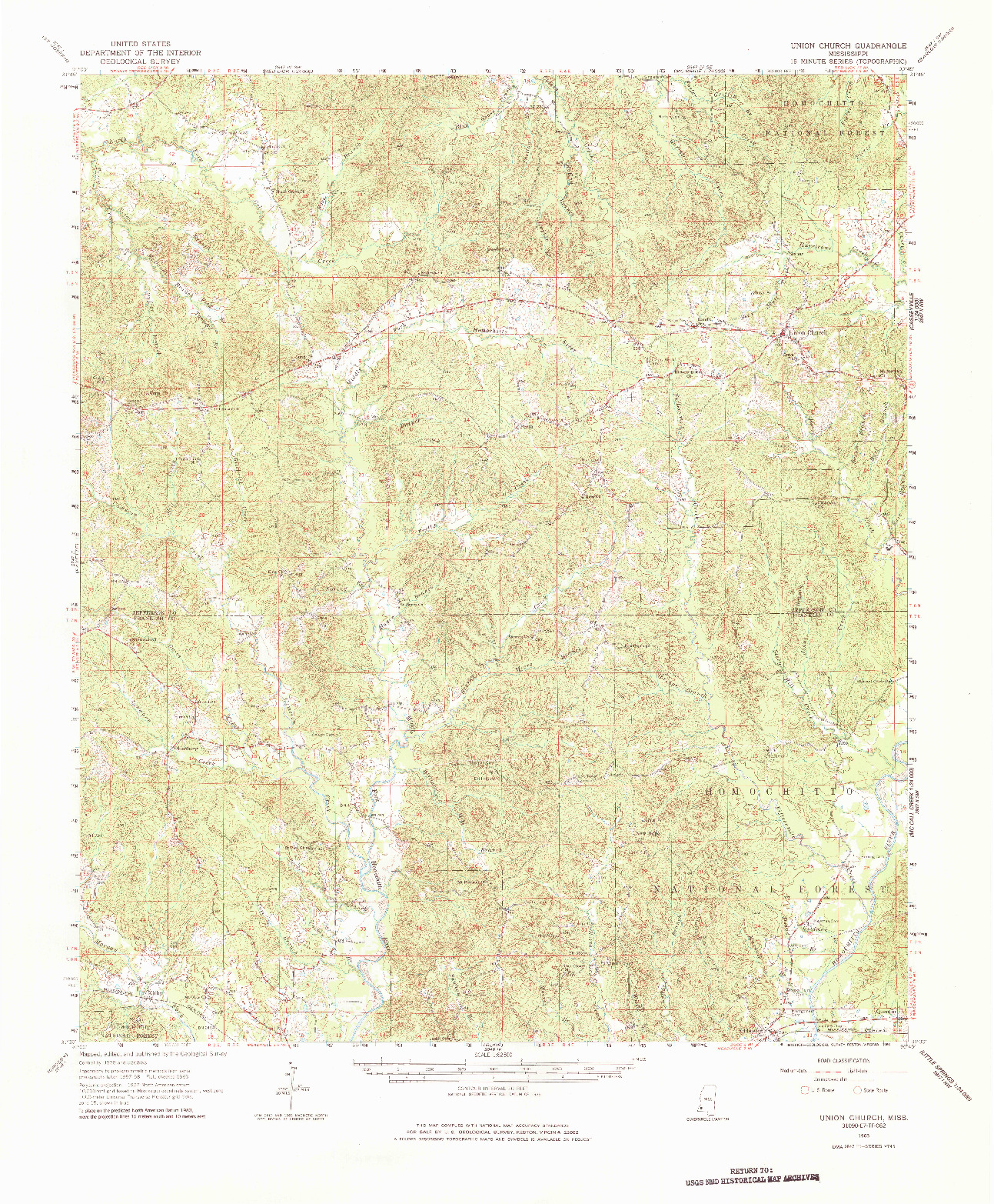 USGS 1:62500-SCALE QUADRANGLE FOR UNION CHURCH, MS 1963